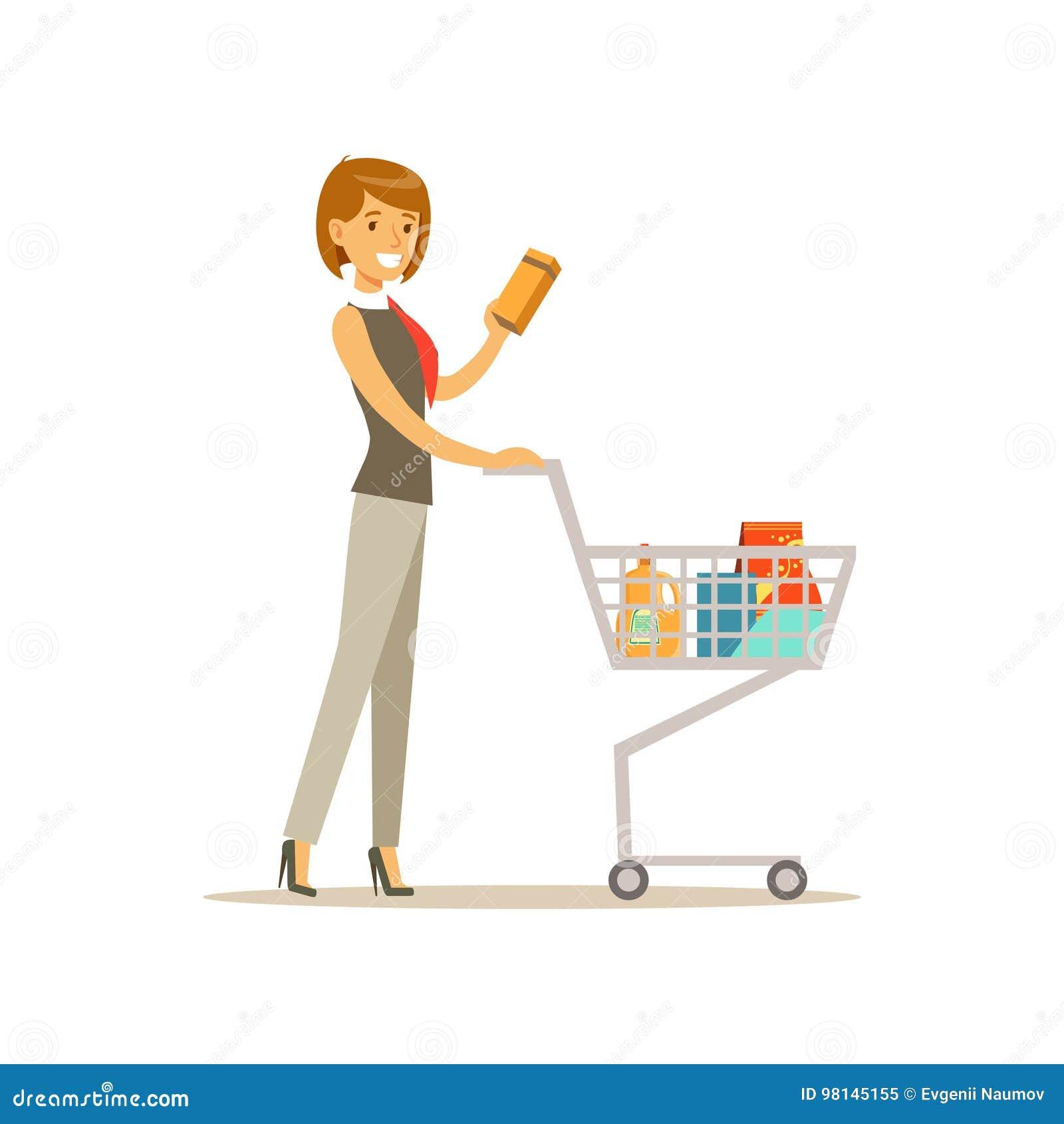 Piękny młoda kobieta charakteru dosunięcia supermarketa wózek na zakupy z sklepu spożywczego wektoru ilustracją