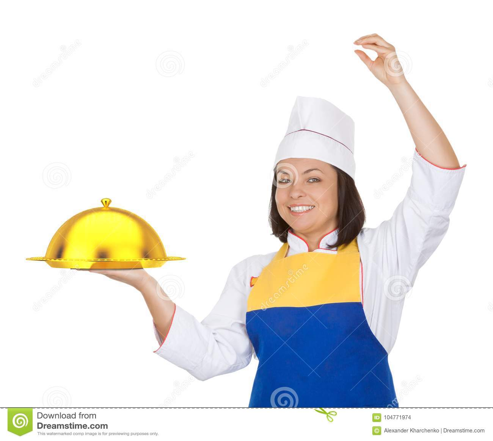 Piękny młoda kobieta szef kuchni z Złotym Restauracyjnym Cloche