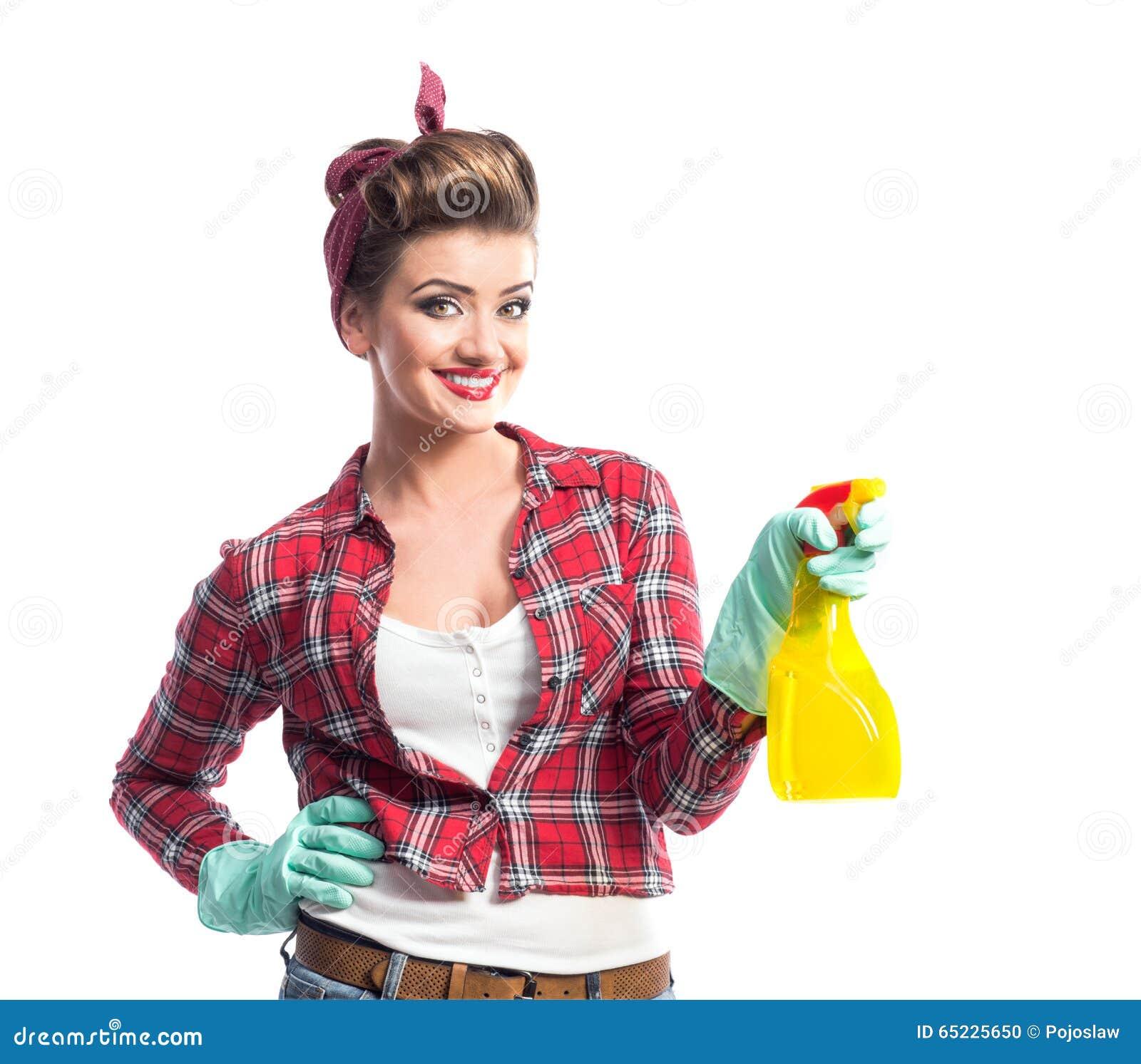 Piękny młody cleaner