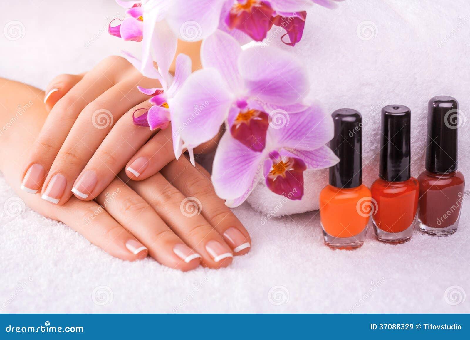Download Piękny Manicure Z Różową Orchideą Na Bielu Obraz Stock - Obraz złożonej z ręcznik, piękno: 37088329