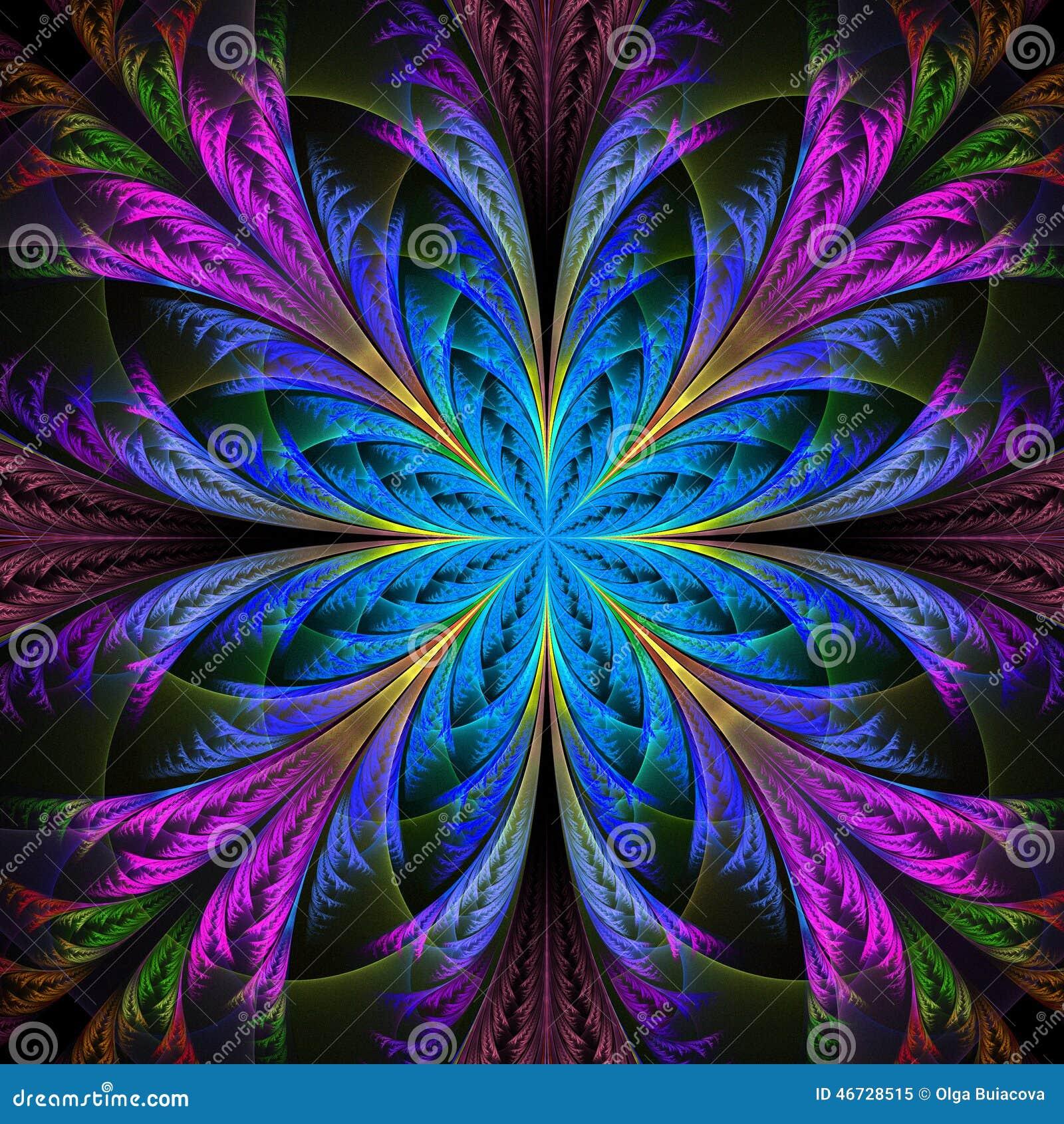 Piękny multicolor fractal kwiat Kolekcja - mroźny wzór