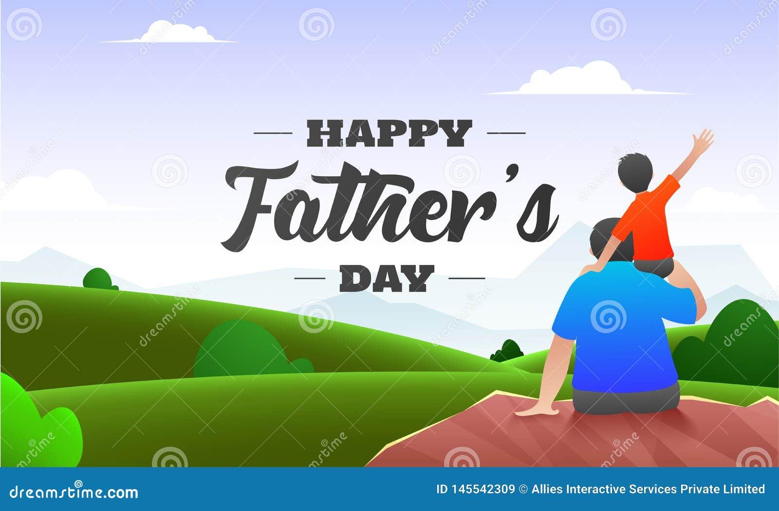 Piękny natury tło z tylnym widokiem syna obsiadanie na jego ojcu brać na swoje barki dla Szczęśliwego ojca dnia