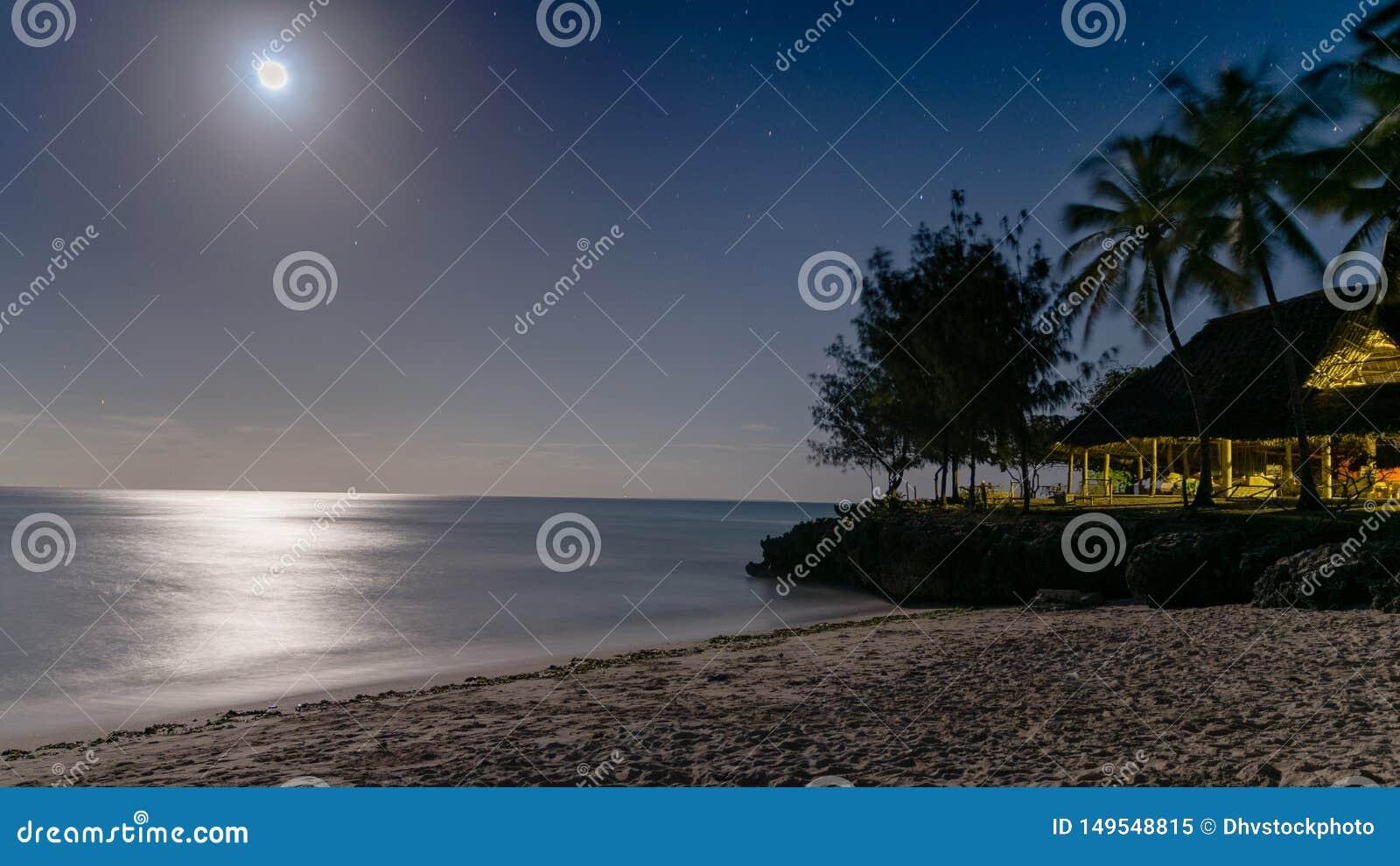 Piękny noc widok raj plaża z srebro łuną odbija daleko woda blask księżyca