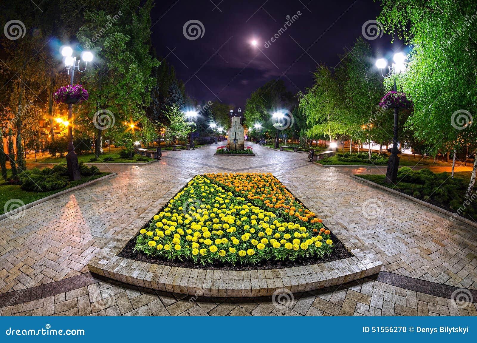 Piękny noc widok ulica w Donetsk