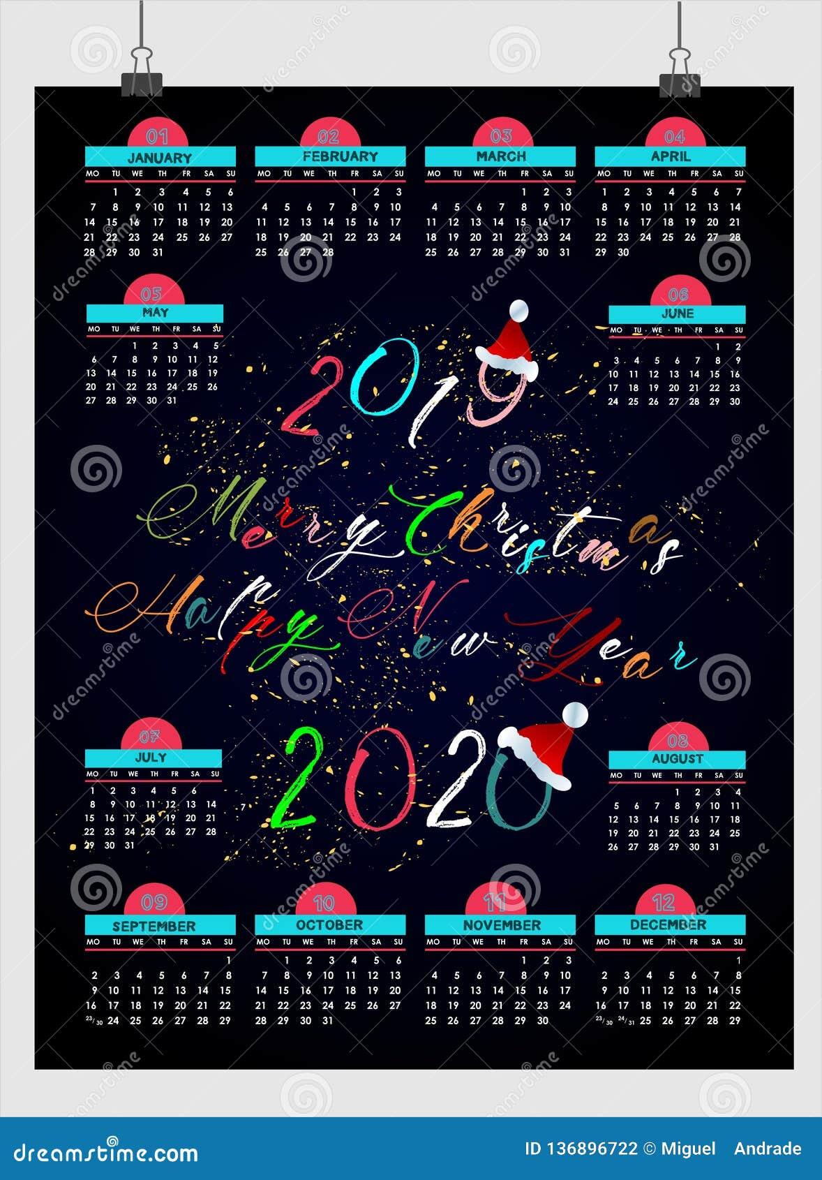 Piękny nowego roku kalendarz 2019 projekt z przestrzenią dla twój daty i notatek