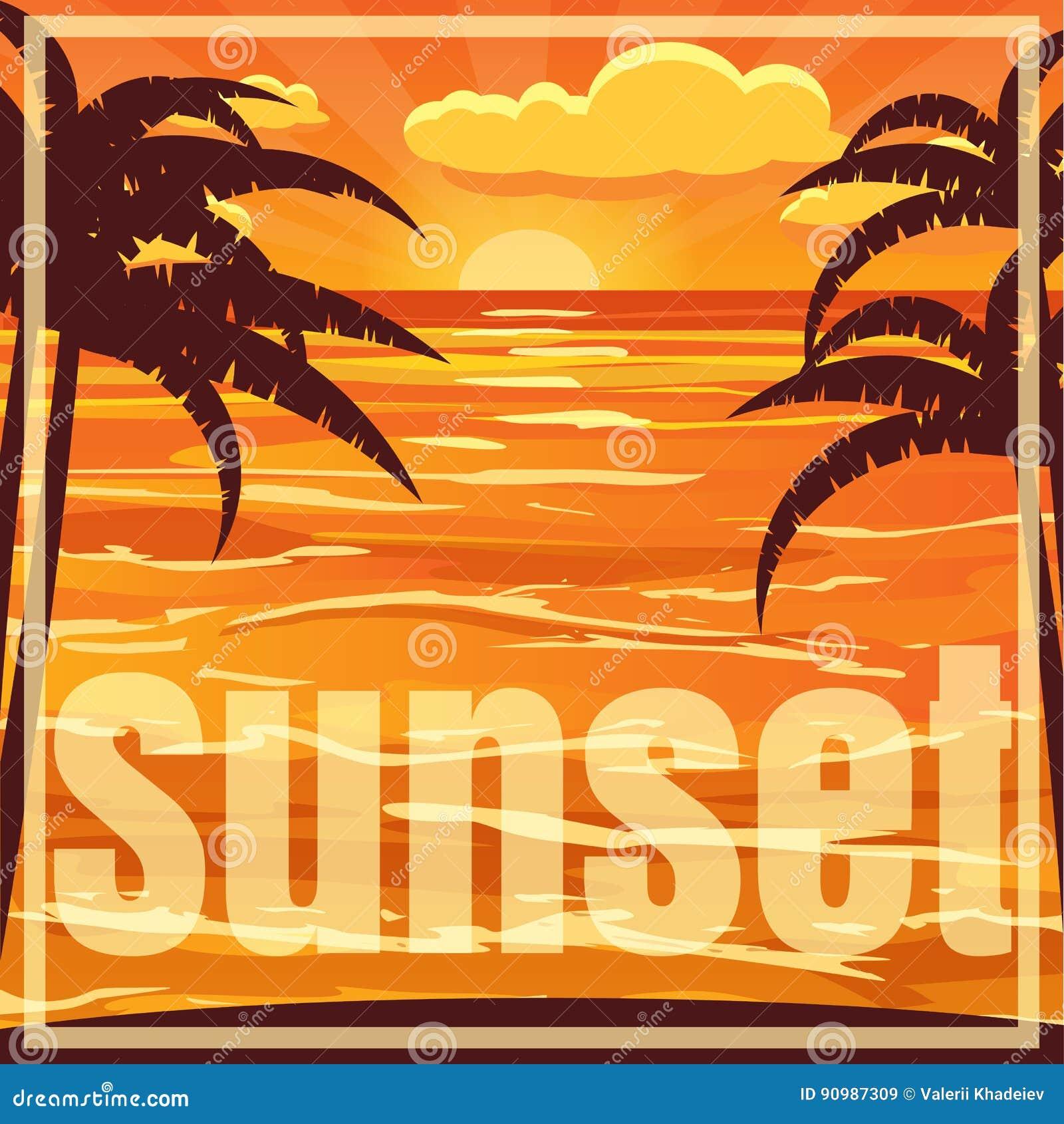 Piękny plażowy zmierzchu krajobraz z palmą Zmierzch nad morzem, wektorowa ilustracja