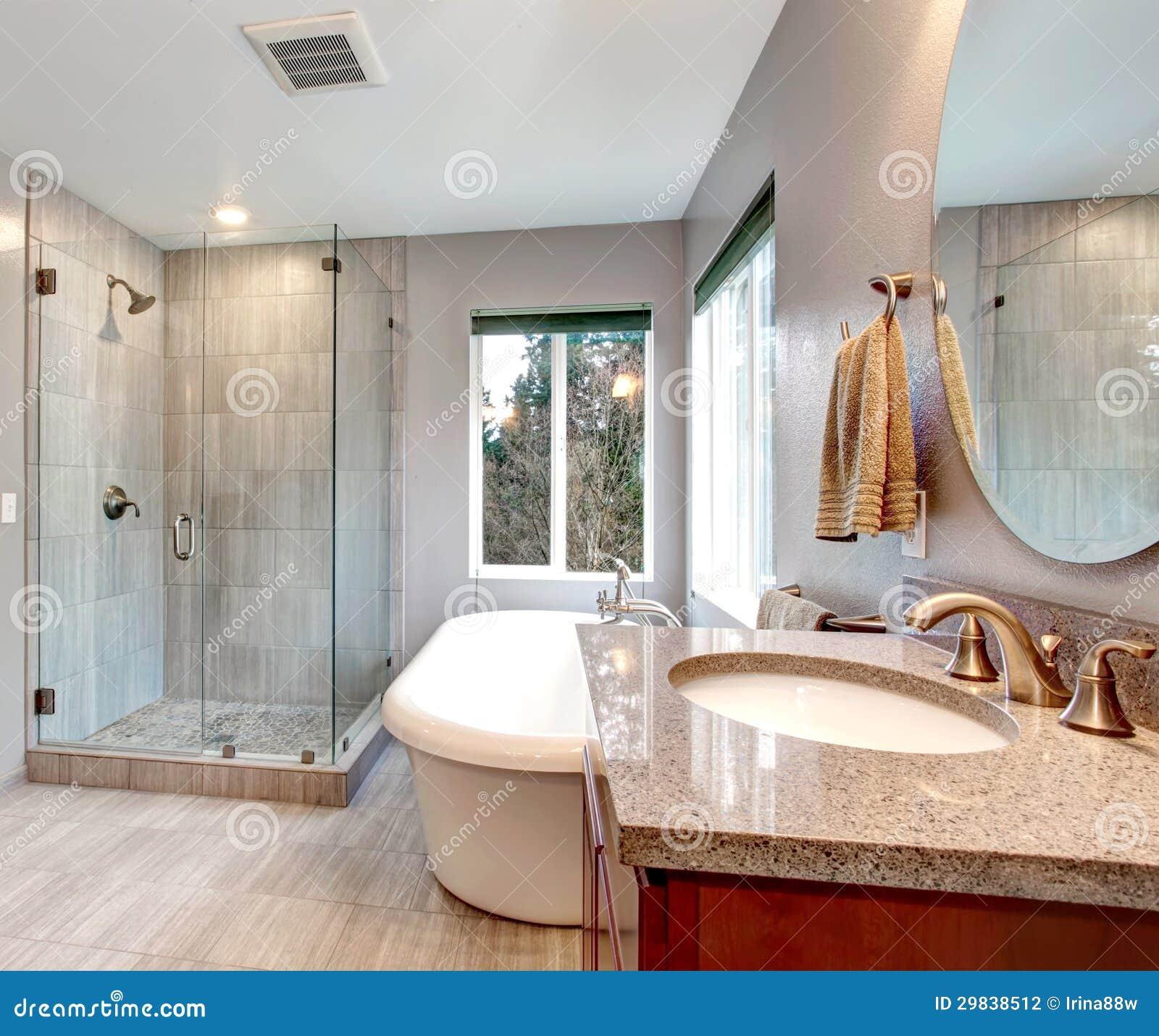 Piękny popielaty nowy nowożytny łazienki wnętrze.