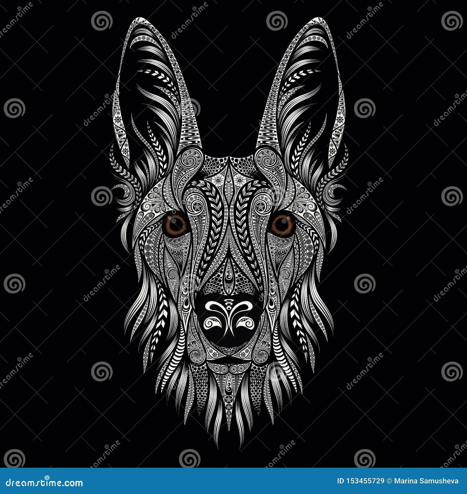 Piękny wektorowy portret pasterski pies od wzorów na czarnym tle