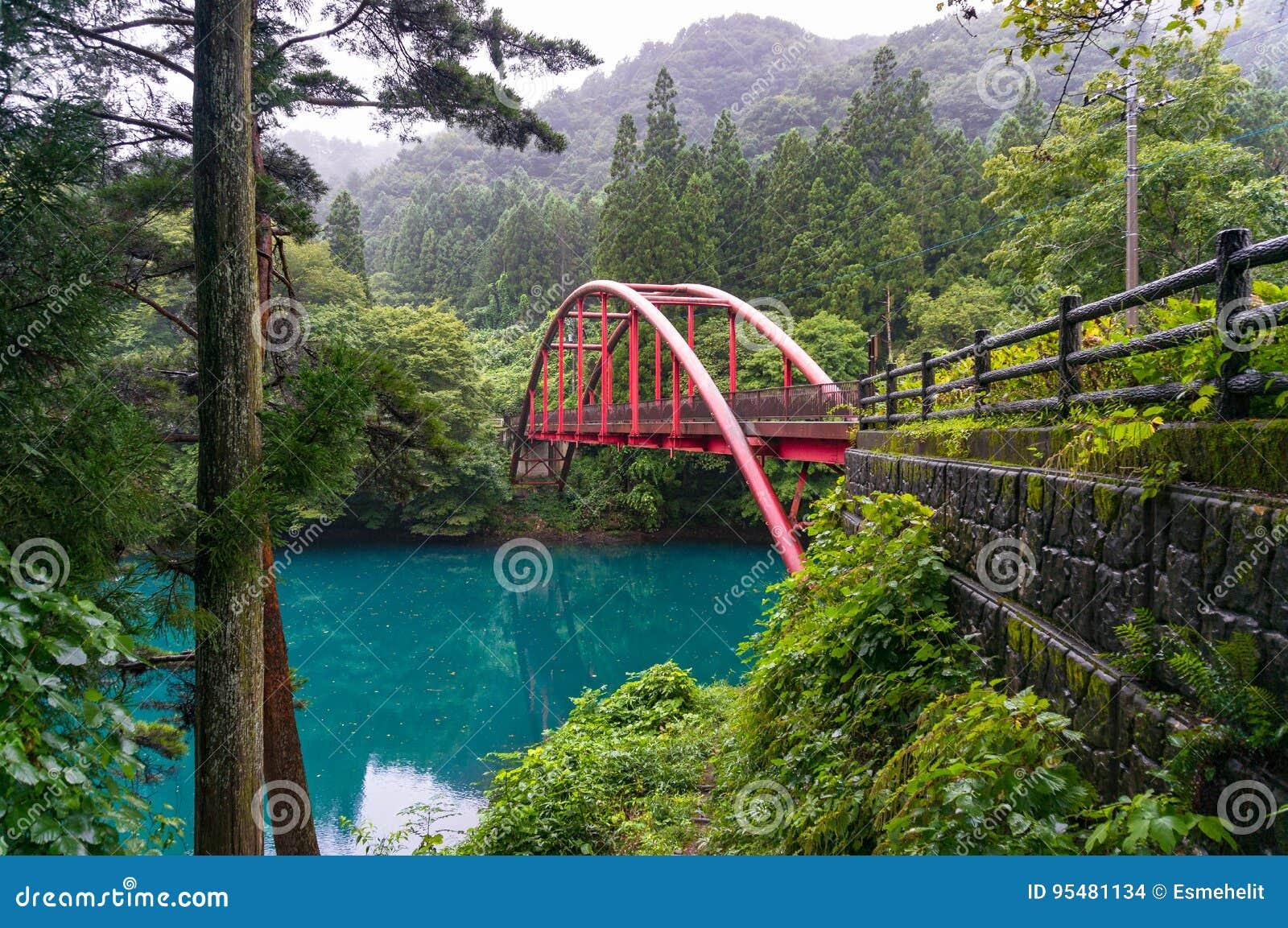 Piękny wieś krajobraz z czerwień łuku mostem nad błękitnym l