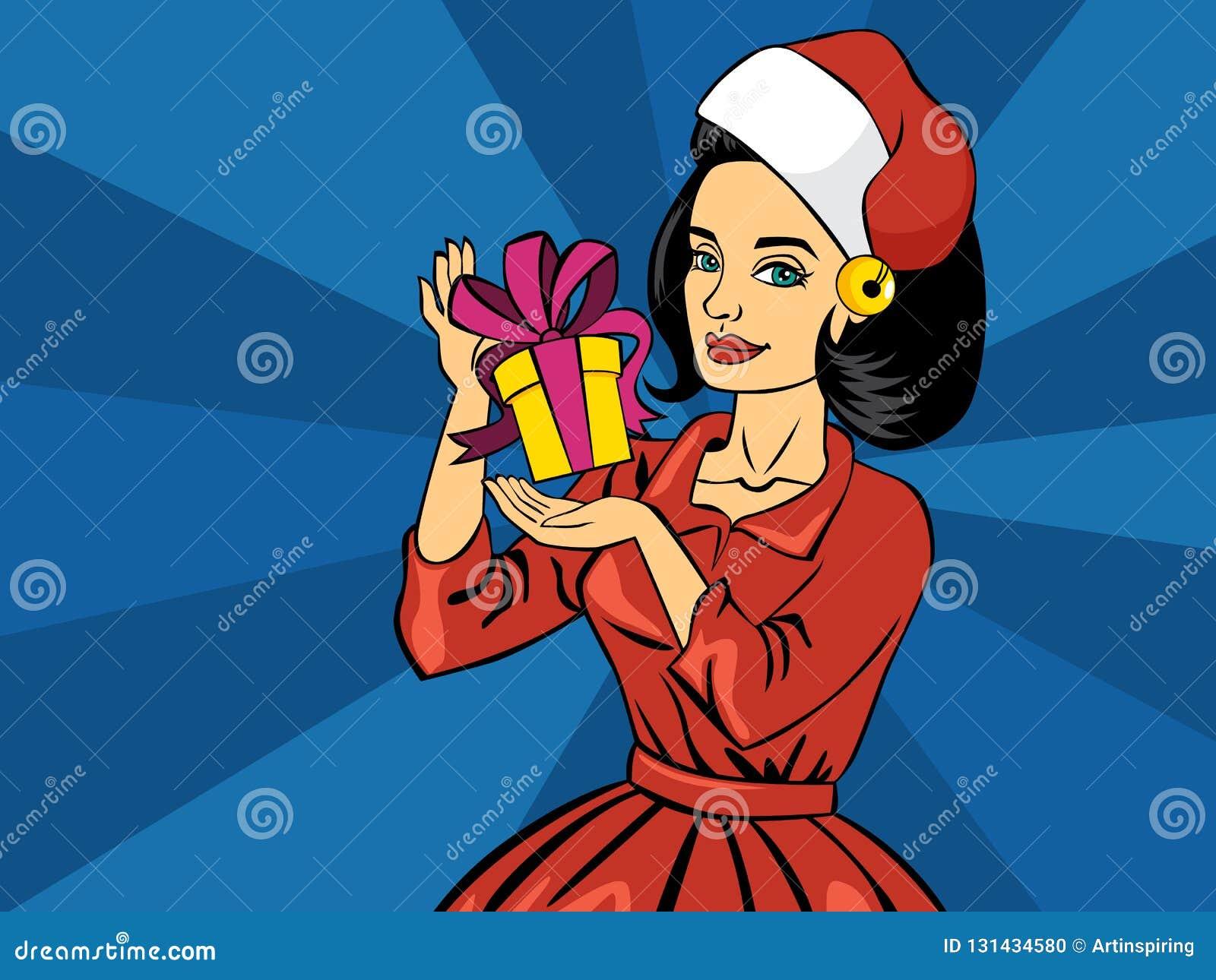 Piękny wystrzał sztuki dziewczyny mienia bożych narodzeń prezenta komiczny pudełko