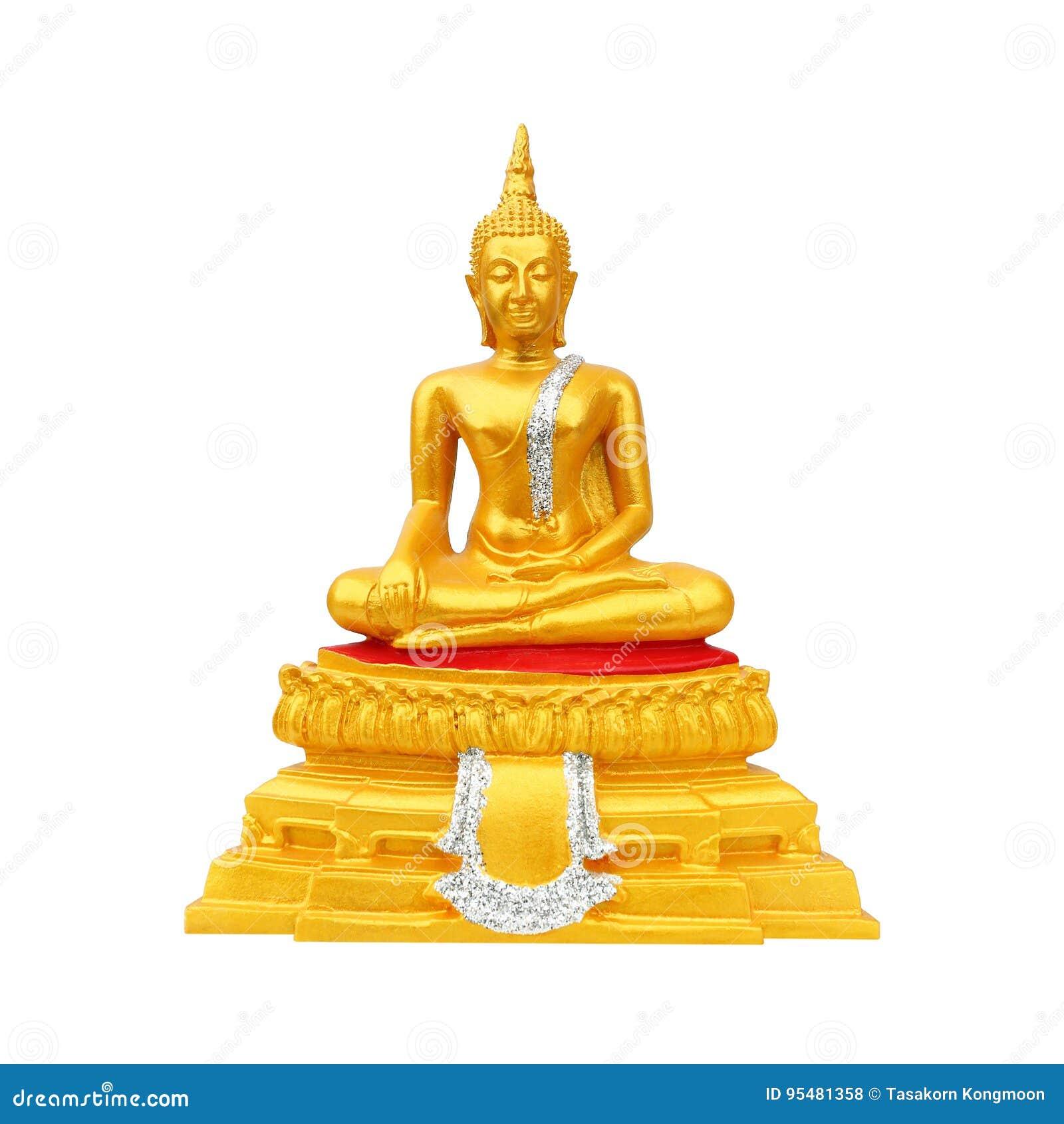 Piękny złocisty Buddha wizerunek odizolowywający na bielu