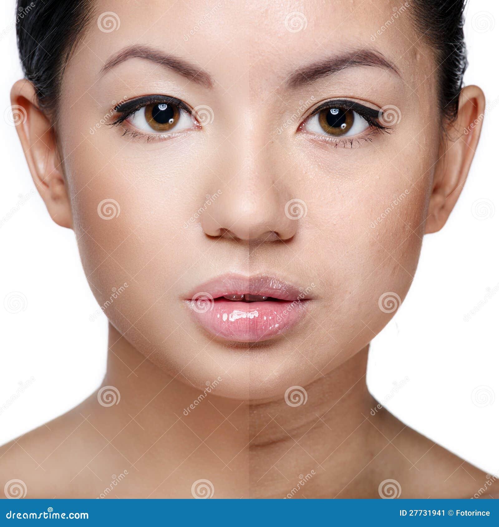Piękny zdrowy versus skóry niezdrowa cera