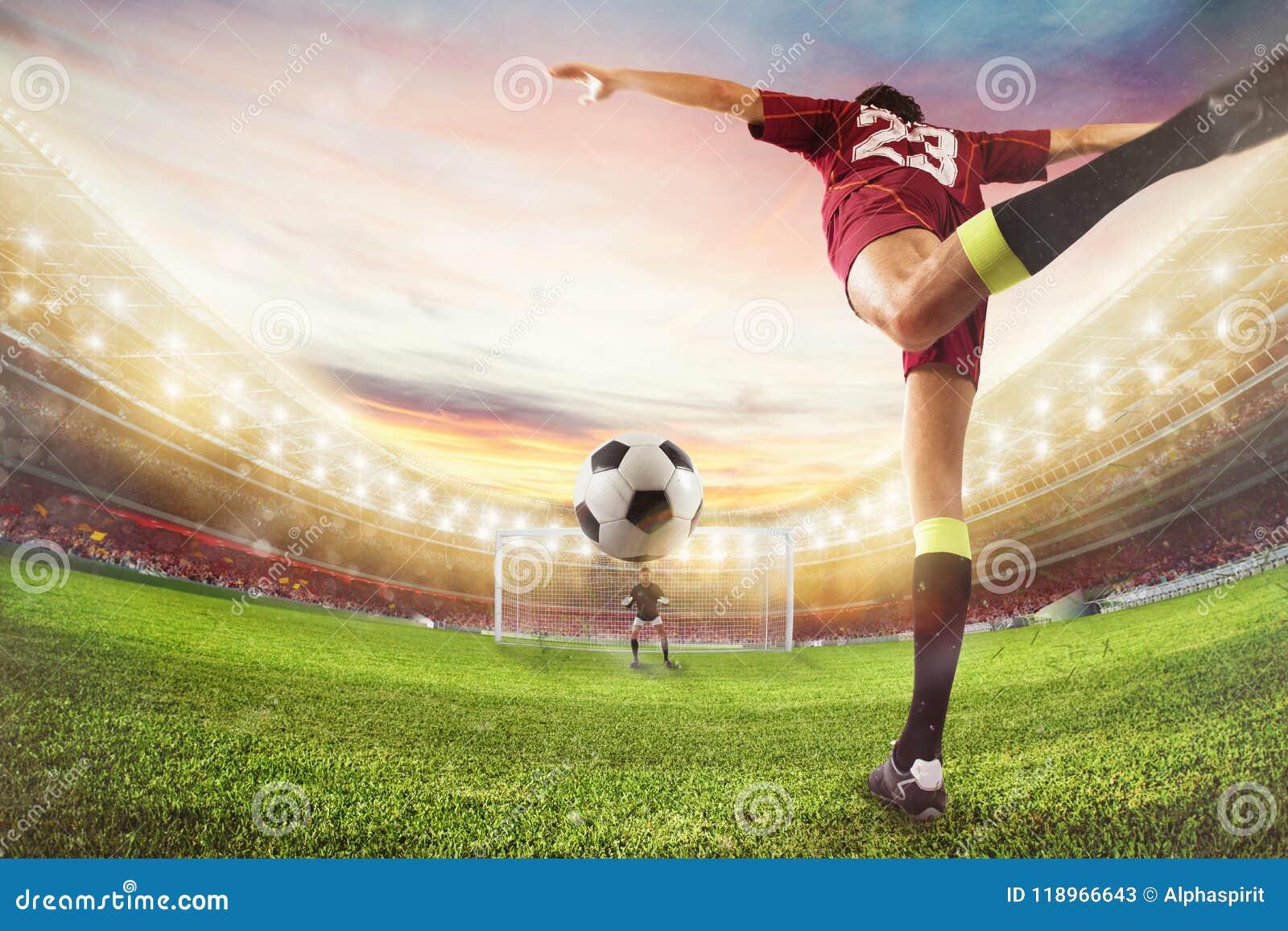 Piłka nożna strajkowicz uderza piłkę z akrobatycznym kopnięciem świadczenia 3 d
