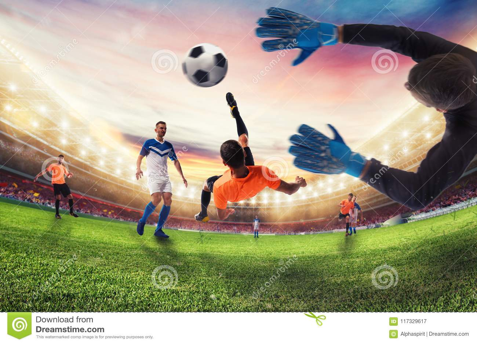 Piłka nożna strajkowicz uderza piłkę z akrobatycznym rowerowym kopnięciem świadczenia 3 d