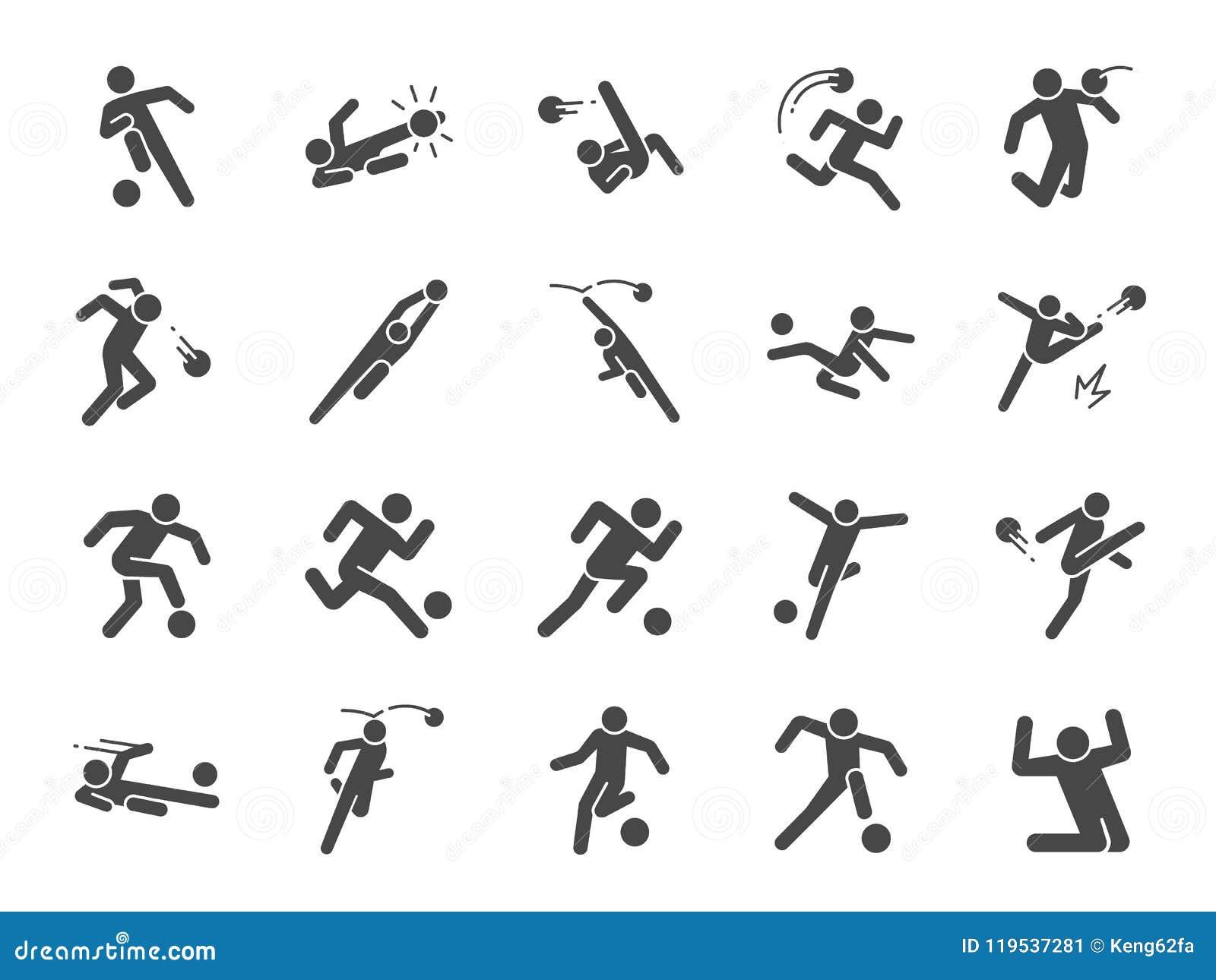 Piłka nożna w akci ikony secie Zawierać ikony jako gracz futbolu, bramkarz, dribling, zasięrzutny kopnięcie, salwy kopnięcie, kró
