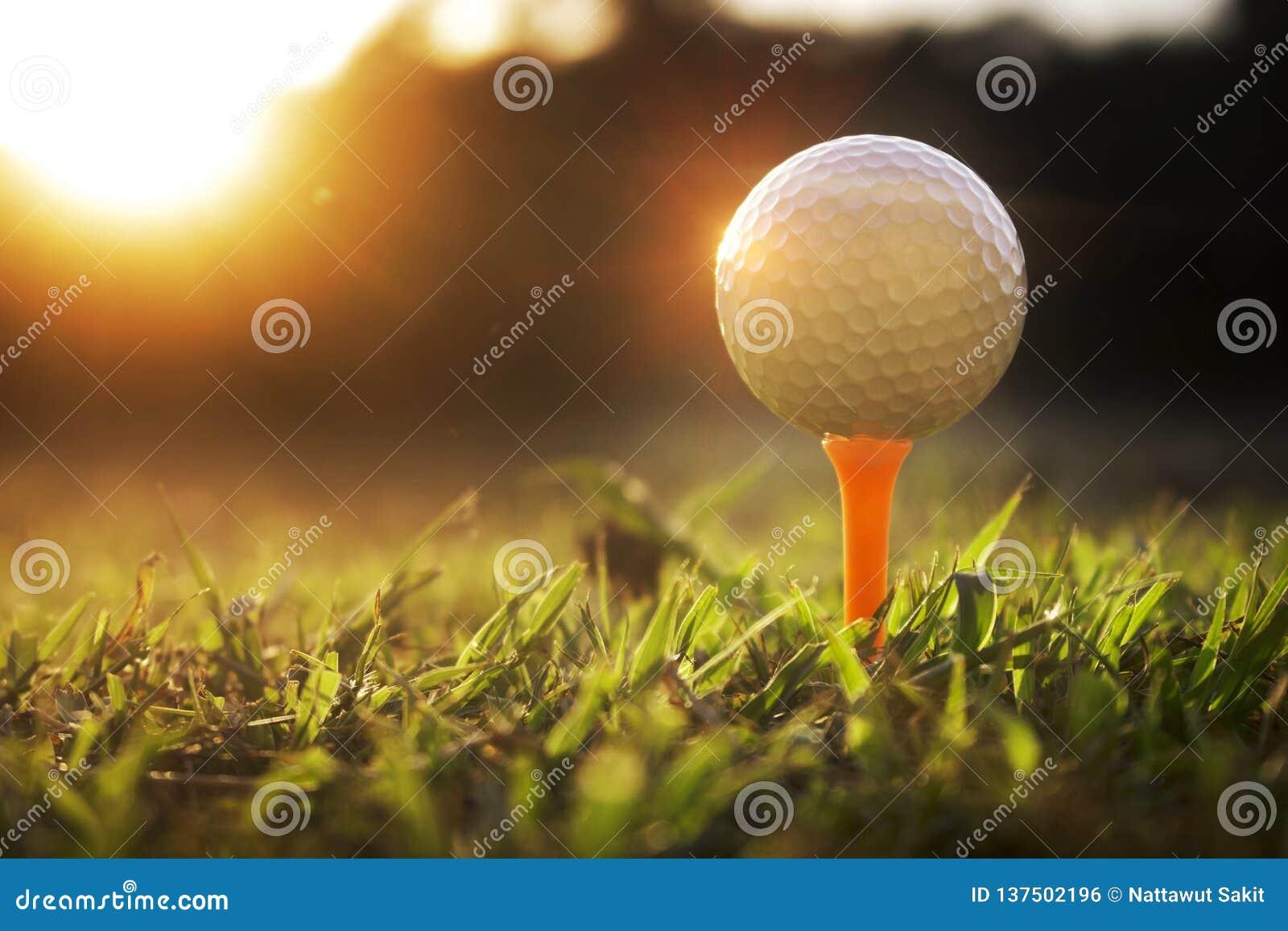 Piłki golfowe na trójniku w pięknych polach golfowych z słońcem wzrastają tło