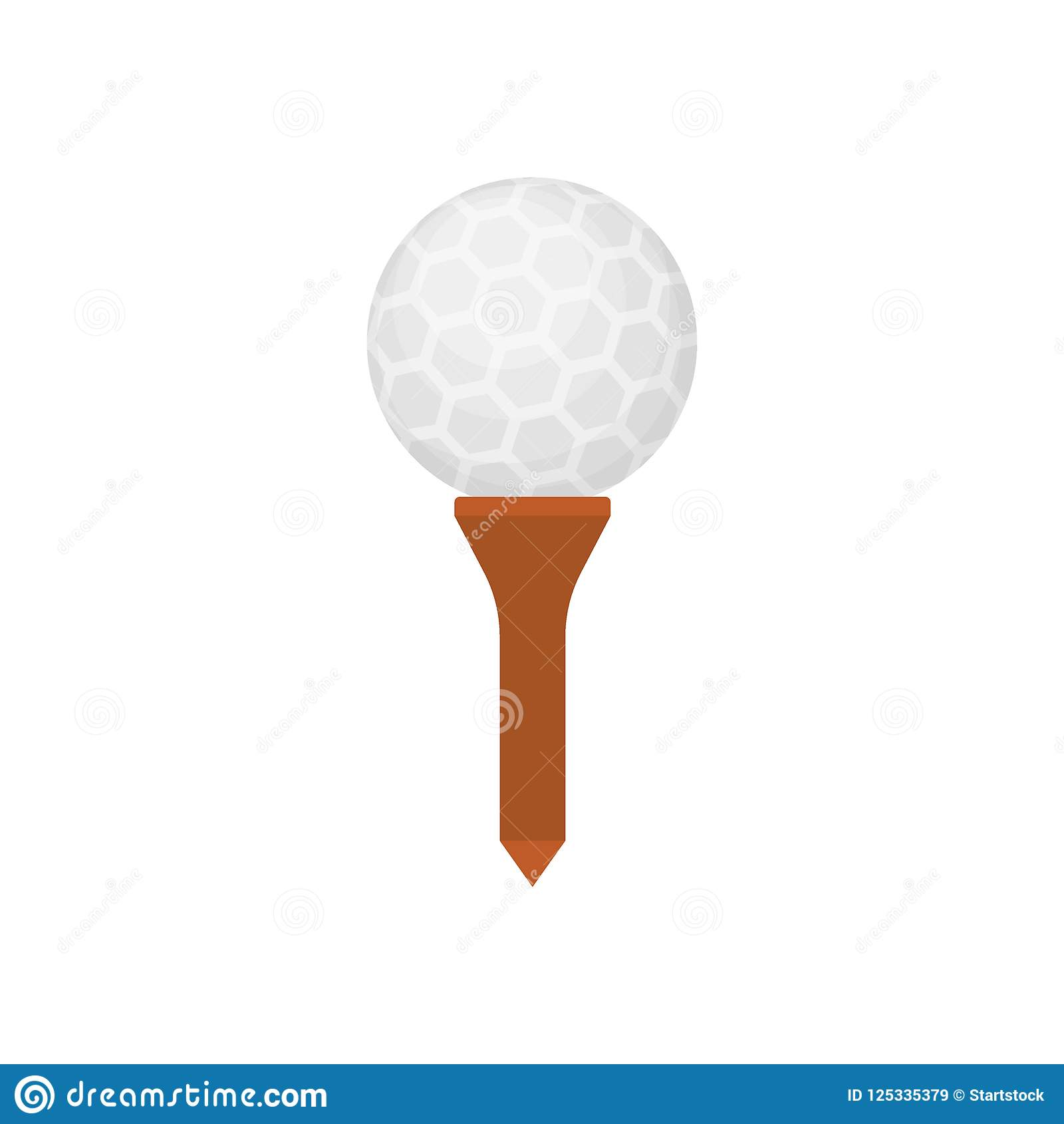 Piłki golfowej ikona na trójniku odizolowywającym na białym tle, płaski element dla grać w golfa, golfowy wyposażenie - wektorowa