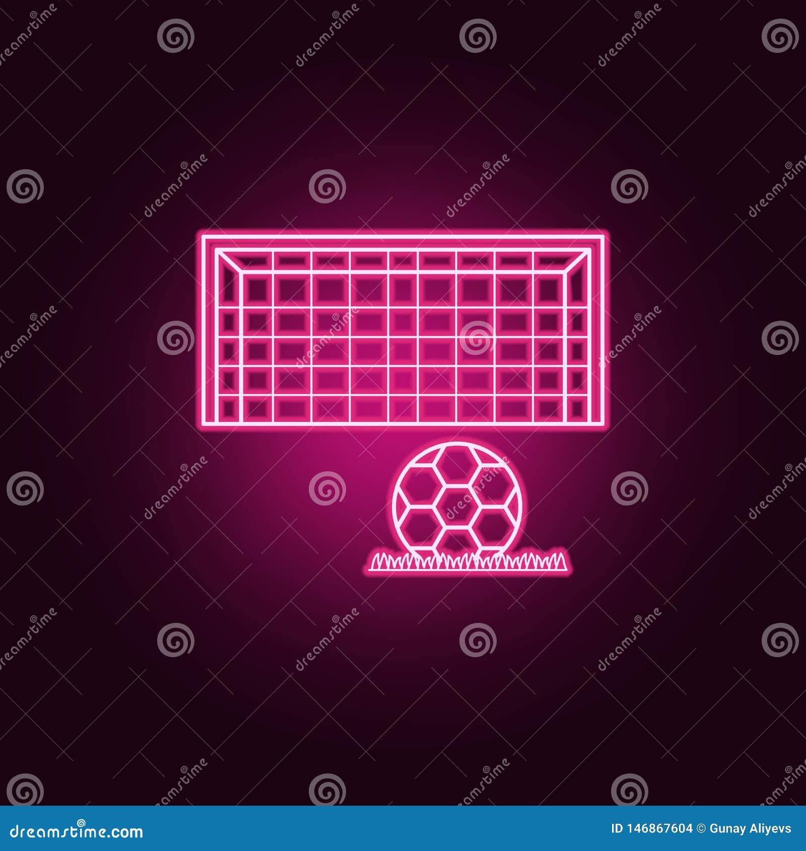 Piłki nożnej brama i balowa neonowa ikona Elementy mistrzostwa 2018 set Prosta ikona dla stron internetowych, sie? projekt, mobil
