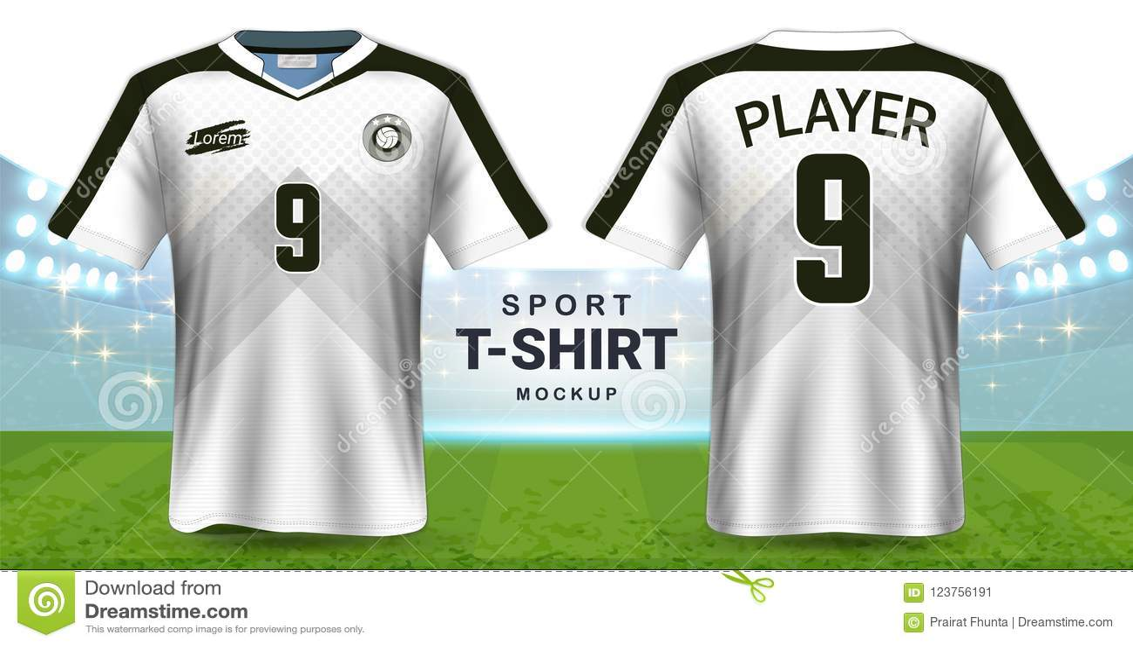 Piłki nożnej bydło, Sportswear koszulki Mockup szablon, Realistyczny Graficznego projekta przód i Tylny widok dla Futbolowych zes