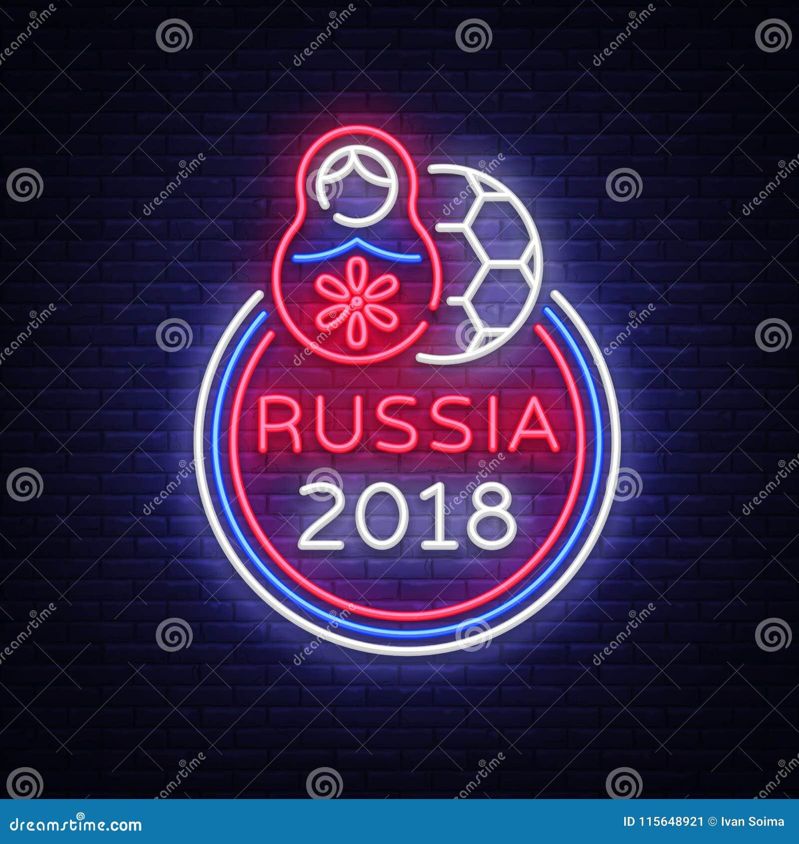 Piłki nożnej mistrzostwa loga neonowy wektor Piłka nożna neonowy znak, Europejska Futbolowa filiżanka 2018, Lekki sztandar, proje