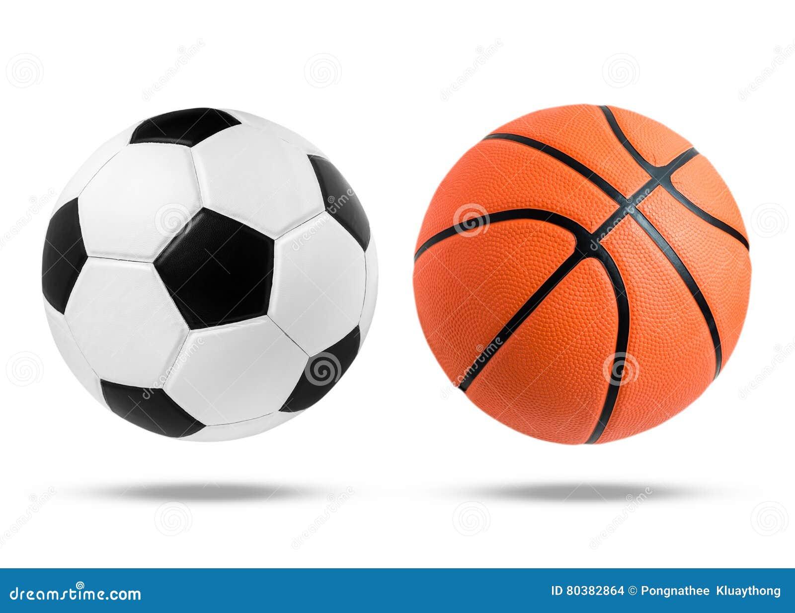 Piłki nożnej piłka i koszykówki piłka na odosobnionym