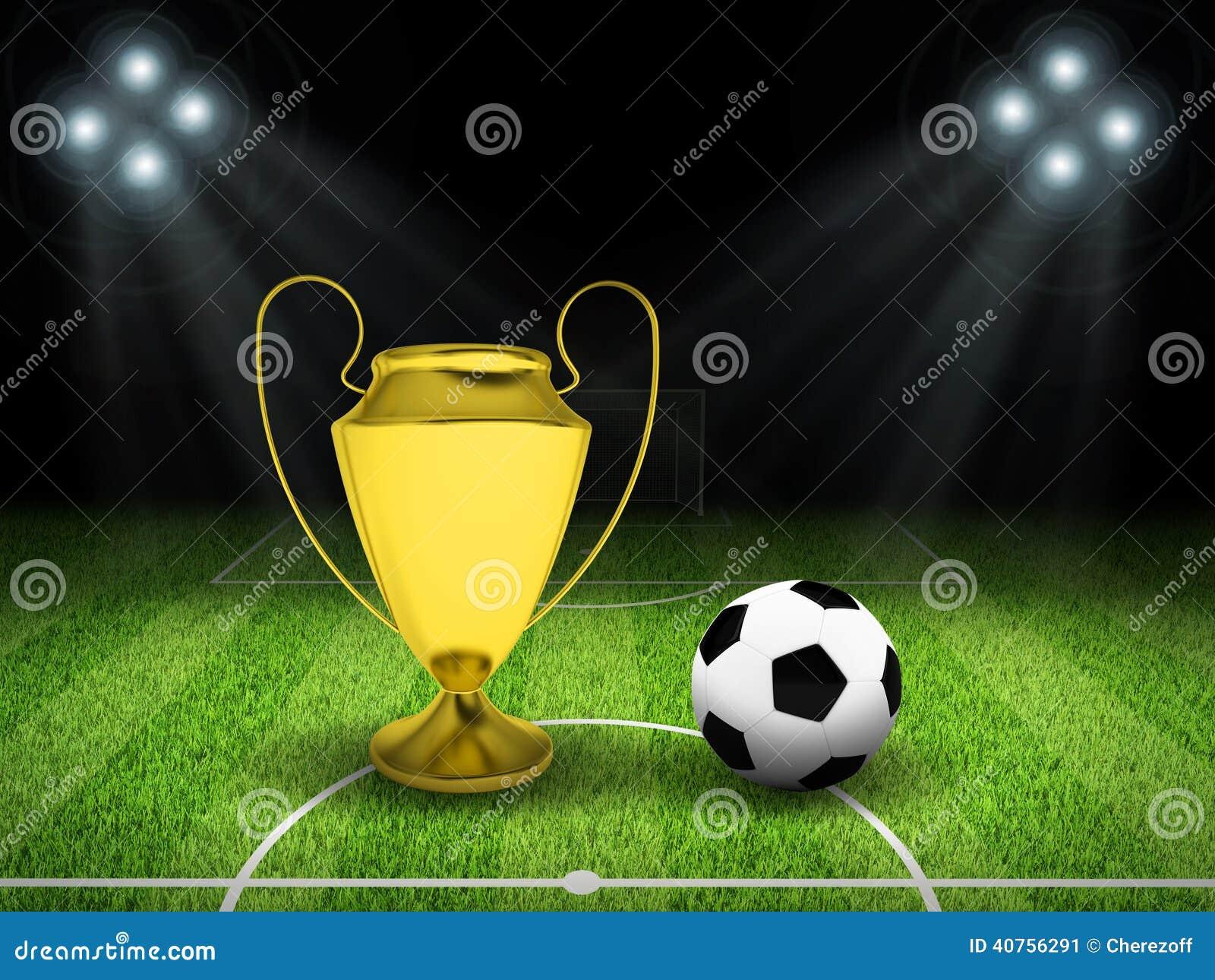 Piłki nożnej piłka i złoto filiżanka po środku pola