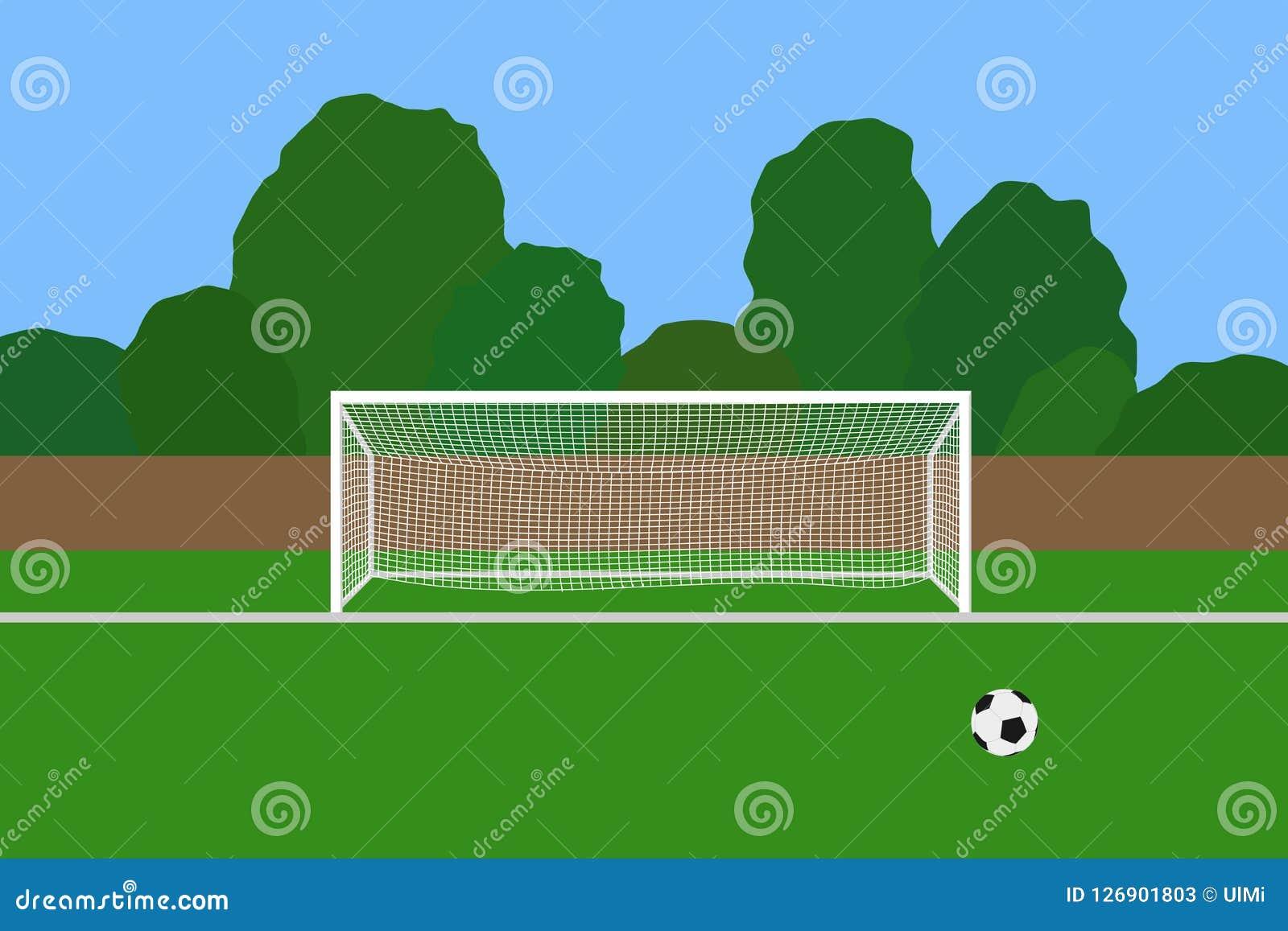 Piłki nożnej piłka na stadionie futbolowym i cel Skojarzeniowego futbolu celu poczta z netto pozycją na plenerowych sportów polu