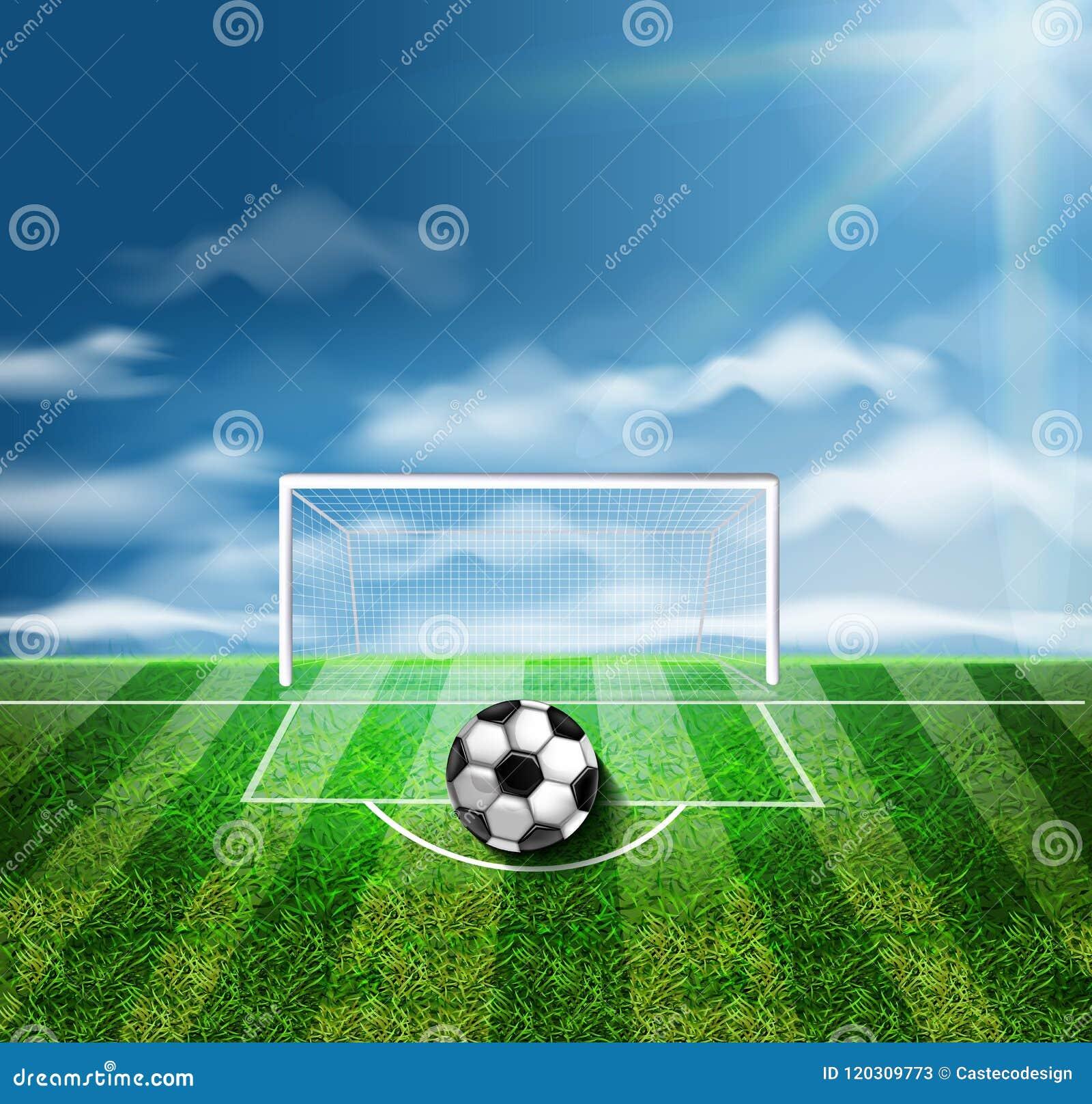 Piłki nożnej piłka na zielonych stadium wektoru 3d realistycznych ilustracjach