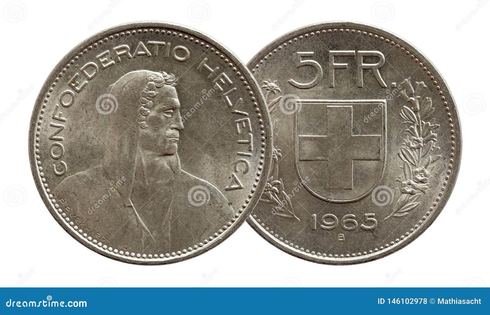 Pi?ce de monnaie suisse 5 de la Suisse cinq argent du franc 1965 d isolement sur le fond blanc