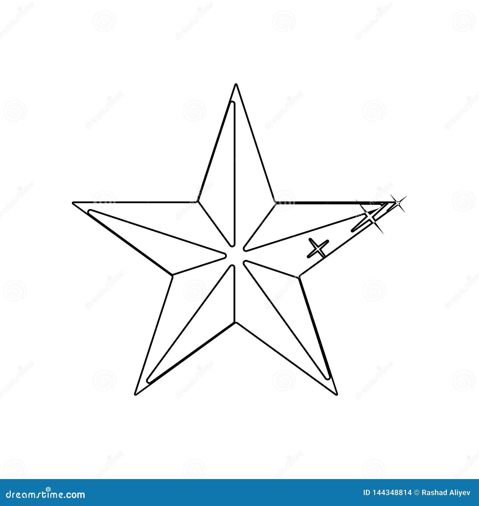 Pi?cioramienna gwiazdowa ikona Element gwiazdy dla mobilnego poj?cia i sieci apps ikony Kontur, cienka kreskowa ikona dla strona