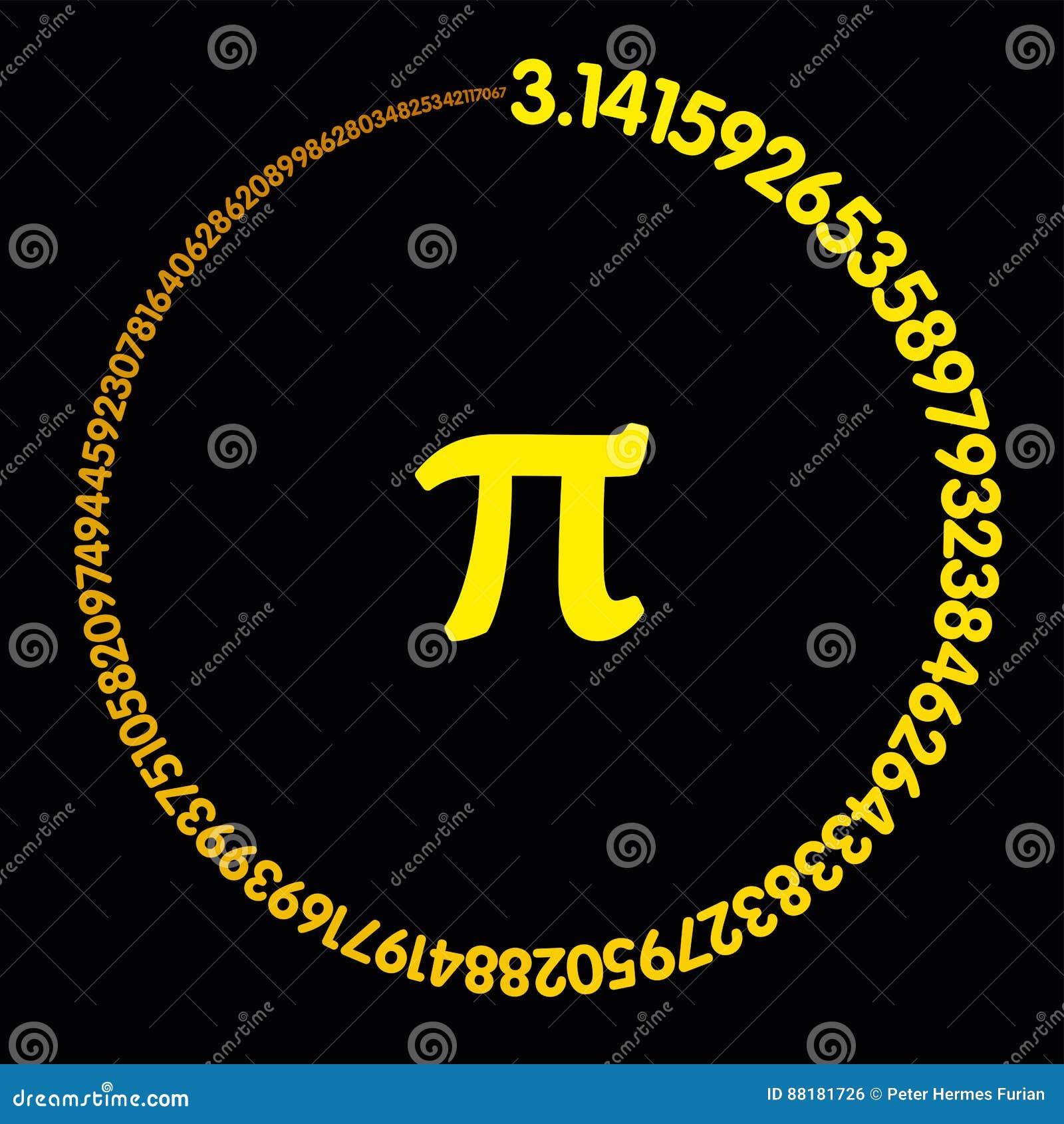 Pi dourado do número que forma um círculo