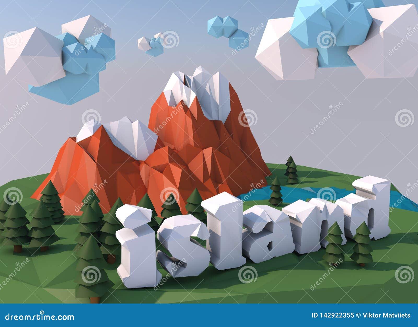 Pi?kna wyspa z chmurami Niscy poli- 3D odp?acaj? si?