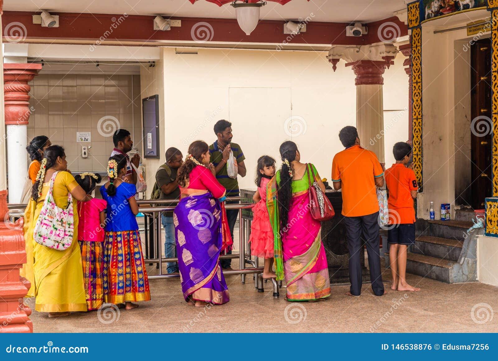 Pi?kny widok Sri Mariamman hinduska ?wi?tynia w Singapur
