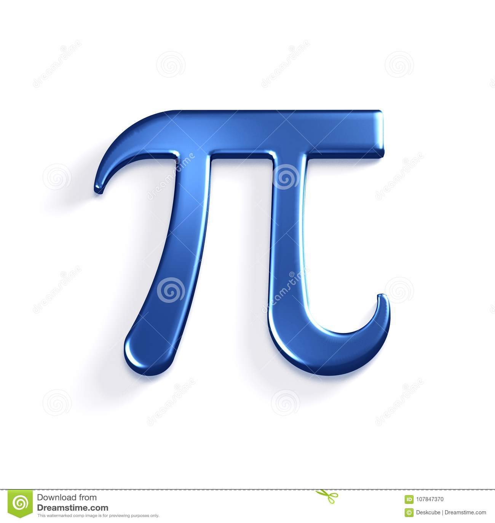 Pi Number Mathematical Symbol 3d Render Illustration Stock