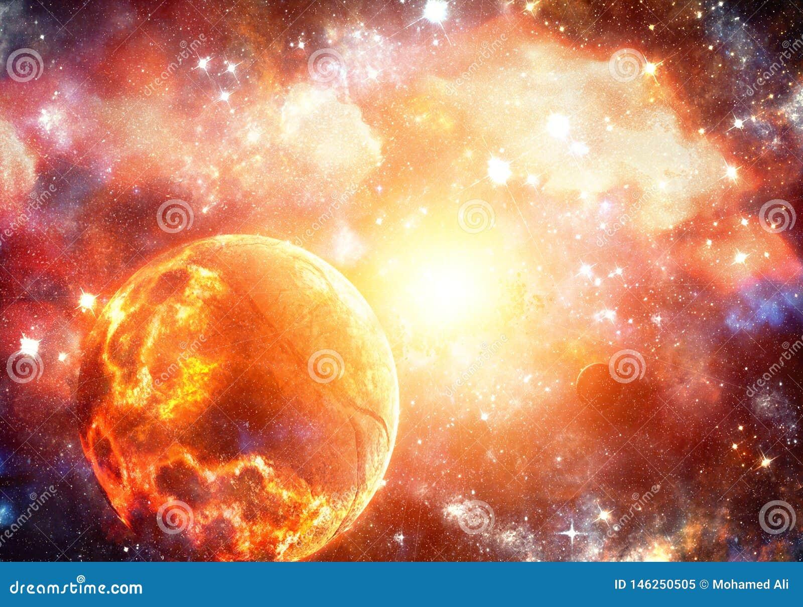 Pianeta d esplosione ardente luminoso d ardore artistico dell estratto in un fondo della supernova
