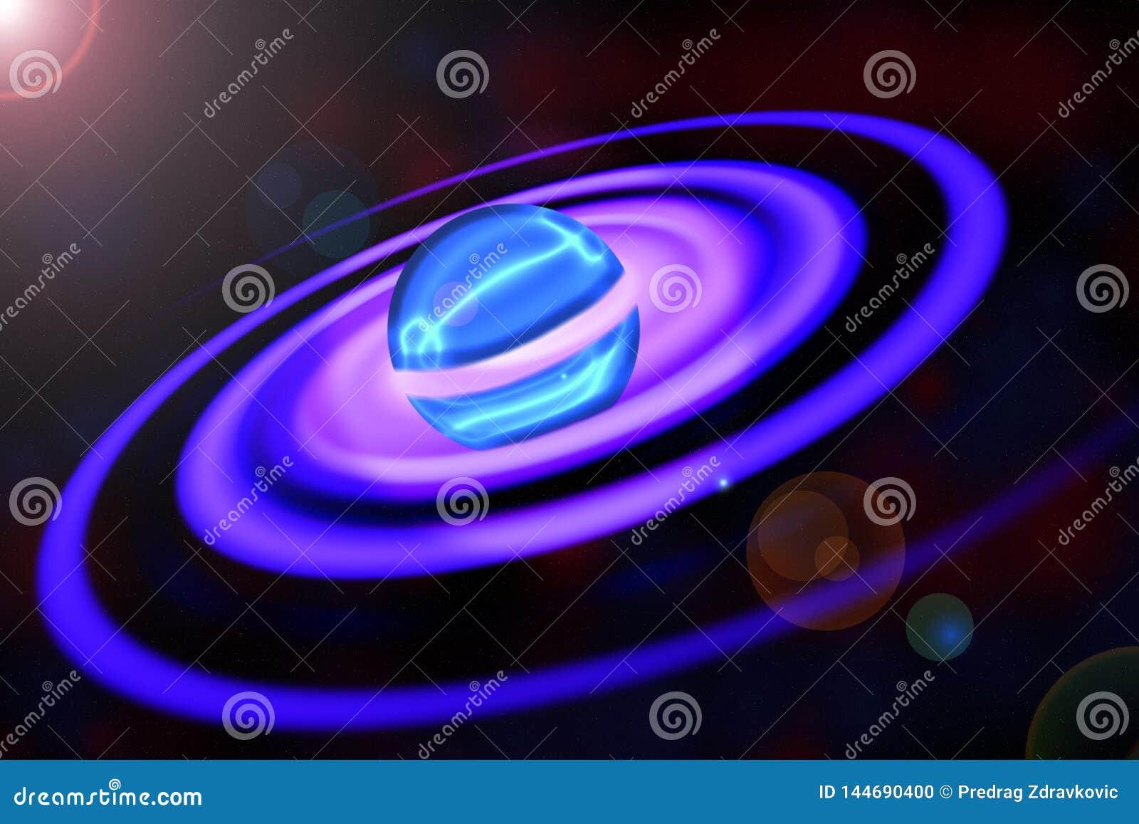 Pianeta spettacolare con gli anelli a spirale