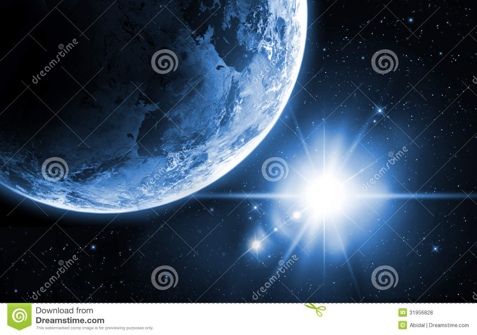 Pianeta Terra con alba nello spazio