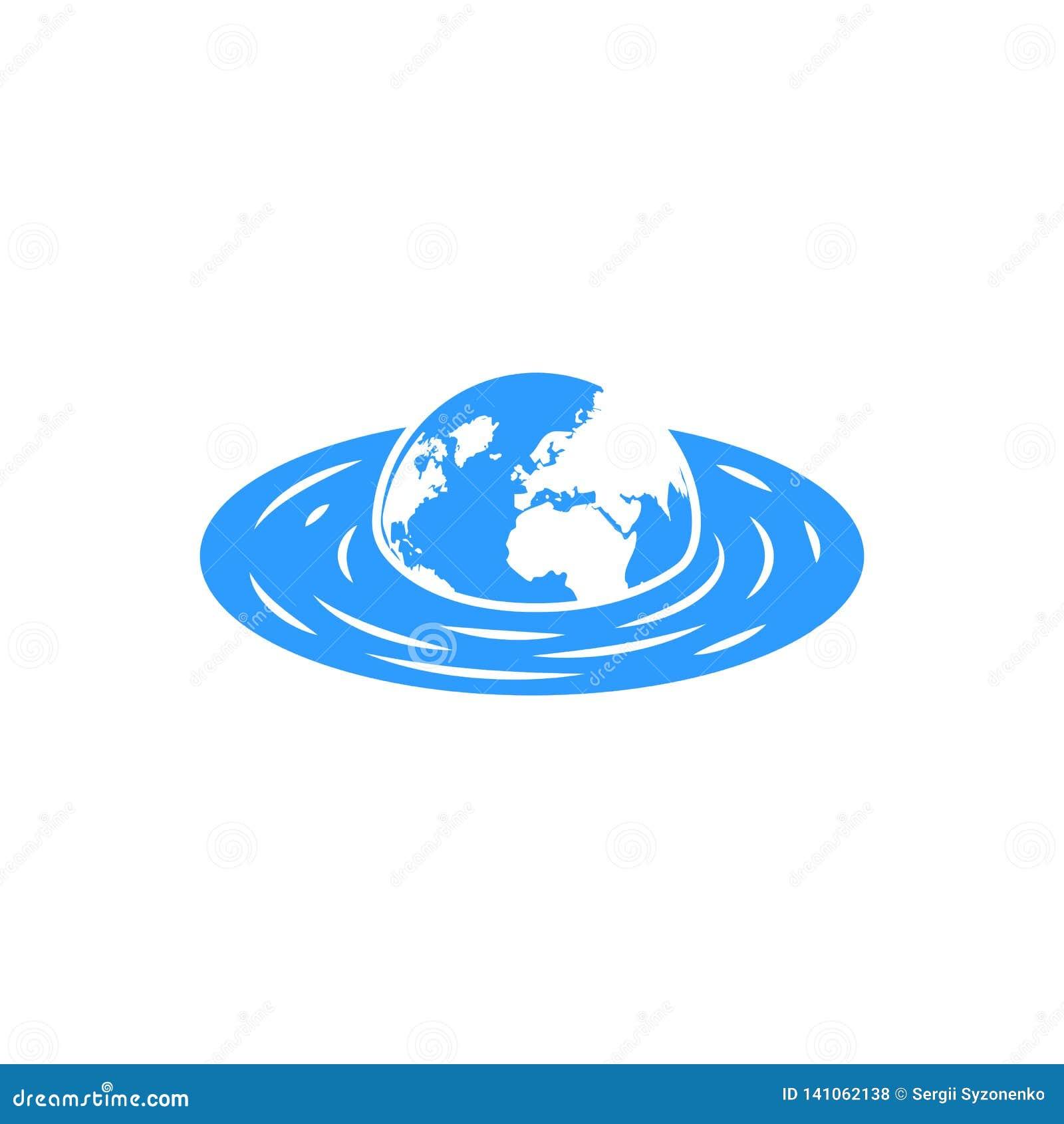 Pianeta Terra d affondamento con il concetto dei continenti per l emblema globale del mutamento climatico dell inondazione di ris