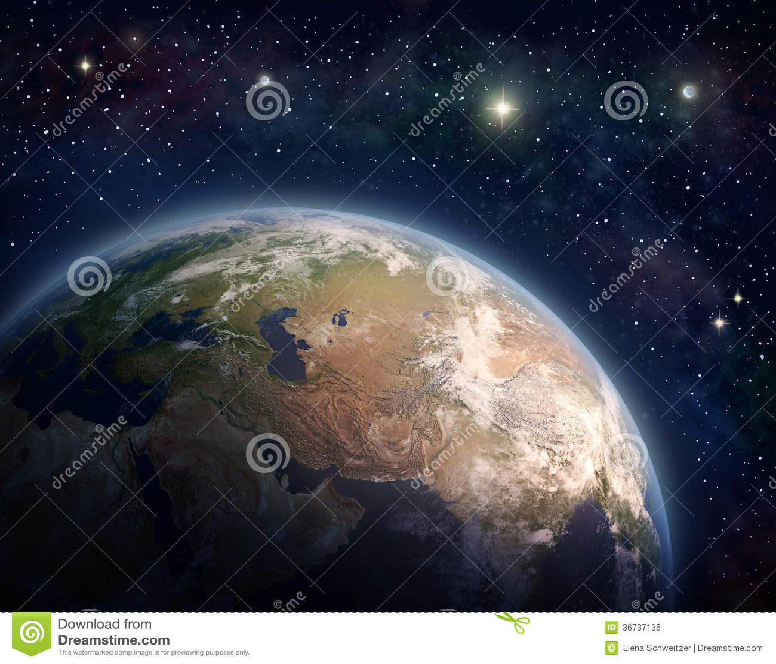 Pianeta Terra e stelle