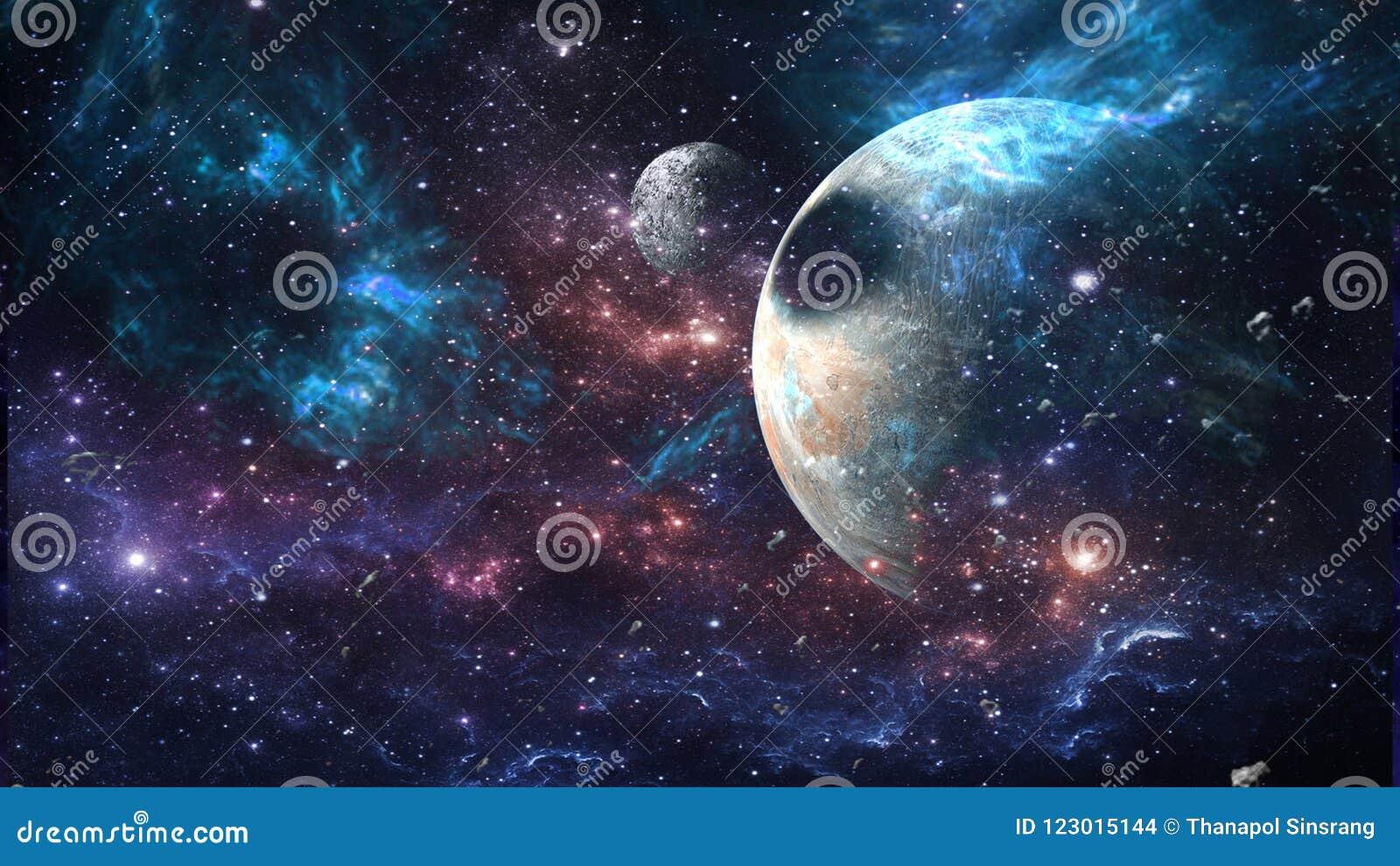 Pianeti e galassia, carta da parati della fantascienza Bellezza di spazio profondo