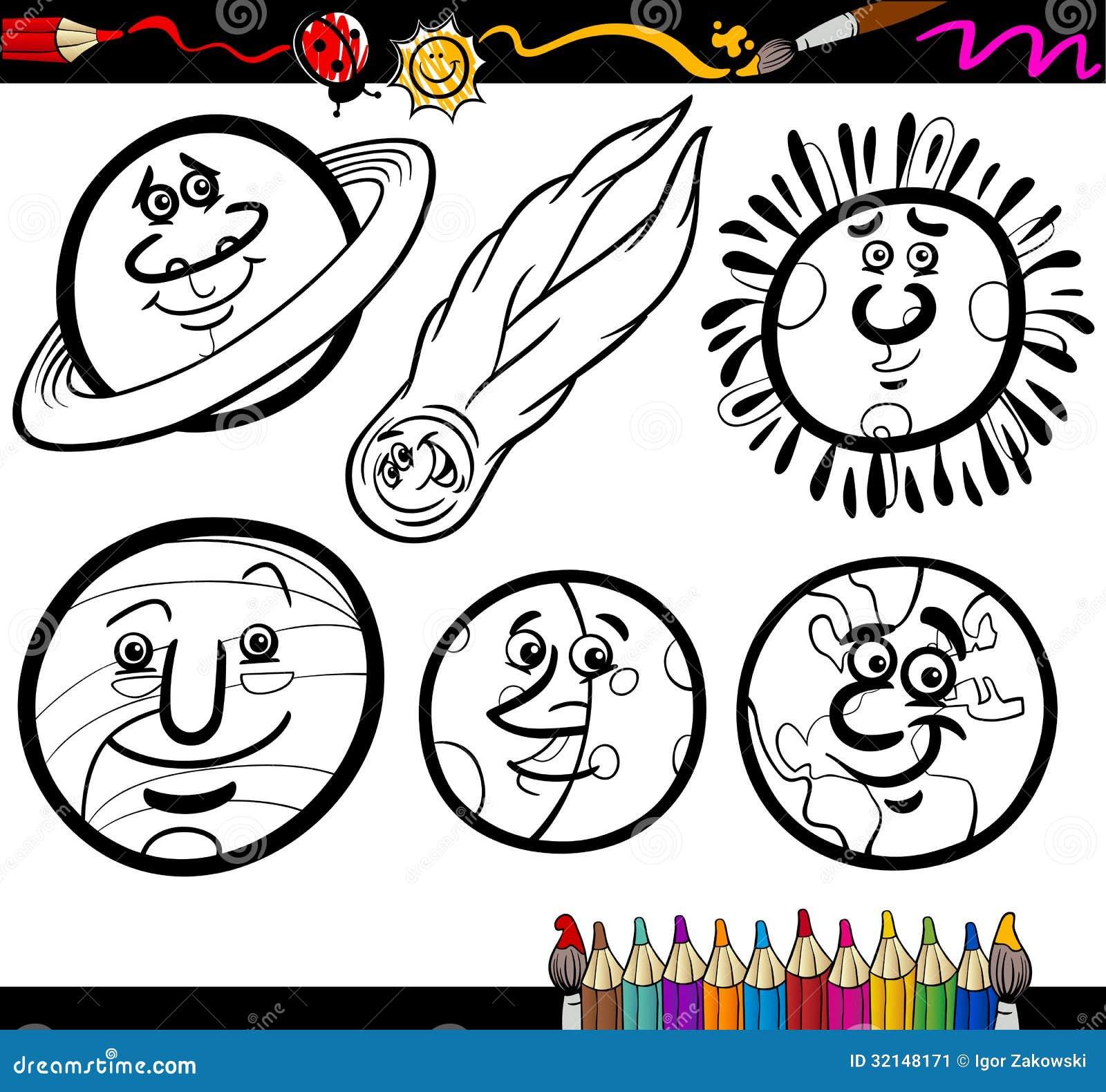 Pianeti E Globi Del Fumetto Che Colorano Pagina Illustrazione Vettoriale Illustrazione Di Caricature Cheerful 32148171
