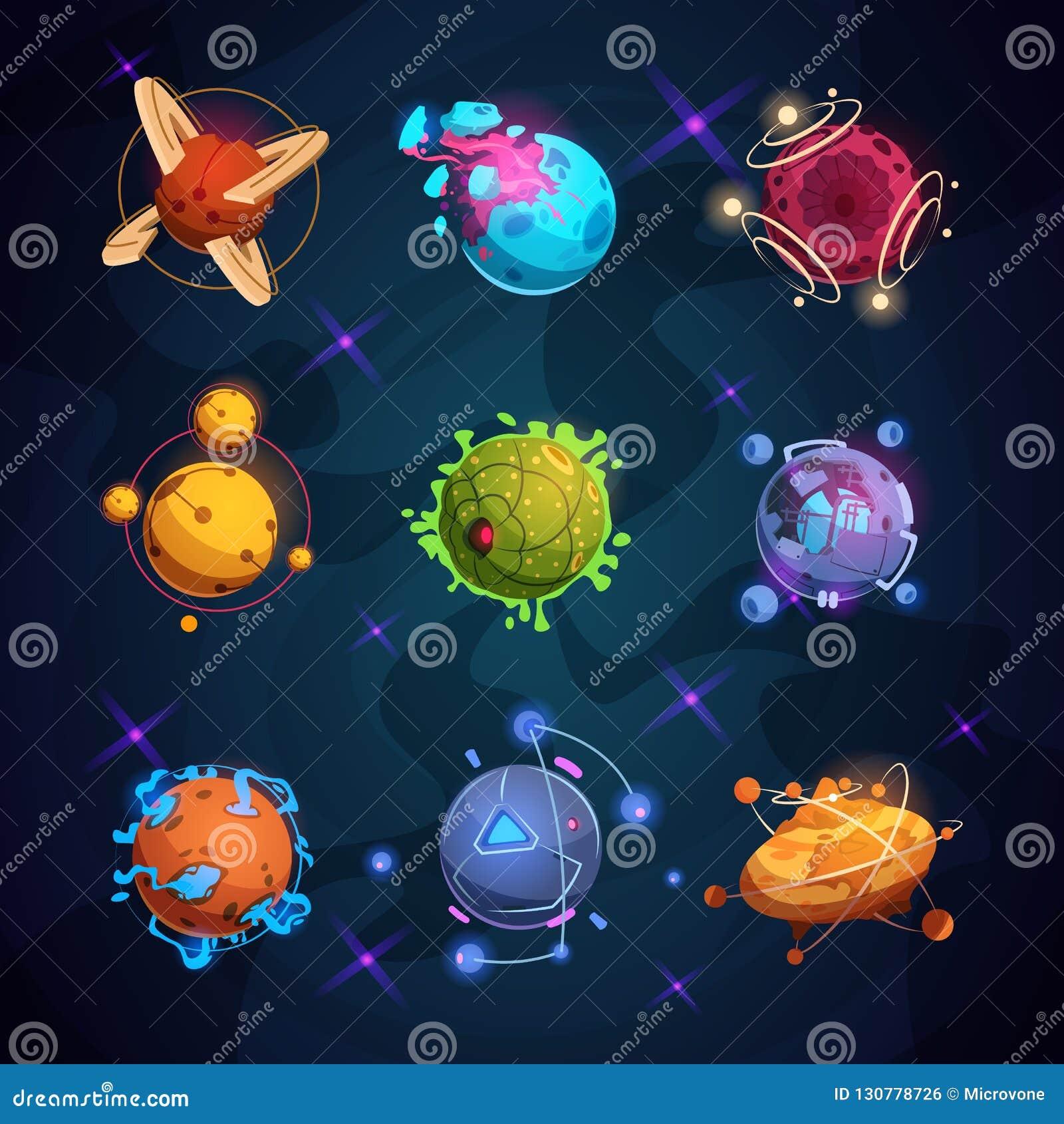 Pianeti fantastici del fumetto Oggetti stranieri del pianeta di fantasia per il gioco dello spazio