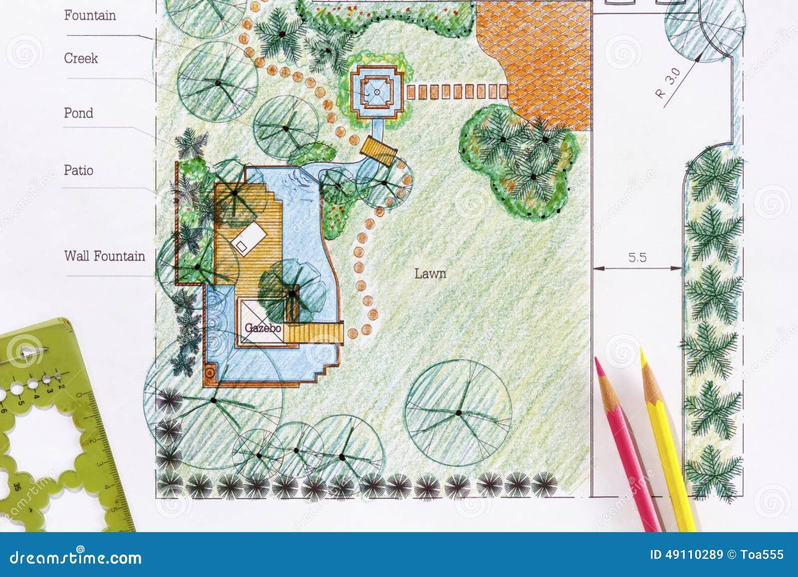 Piani del giardino dell 39 acqua di progettazione dell for Software di progettazione di layout di costruzione gratuito