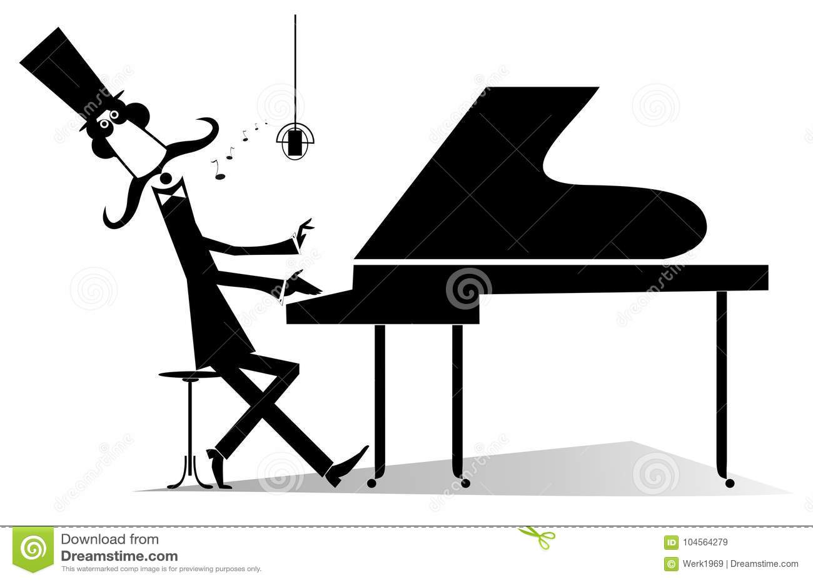 Pianist Original Silhouette Isolated Stock Vector