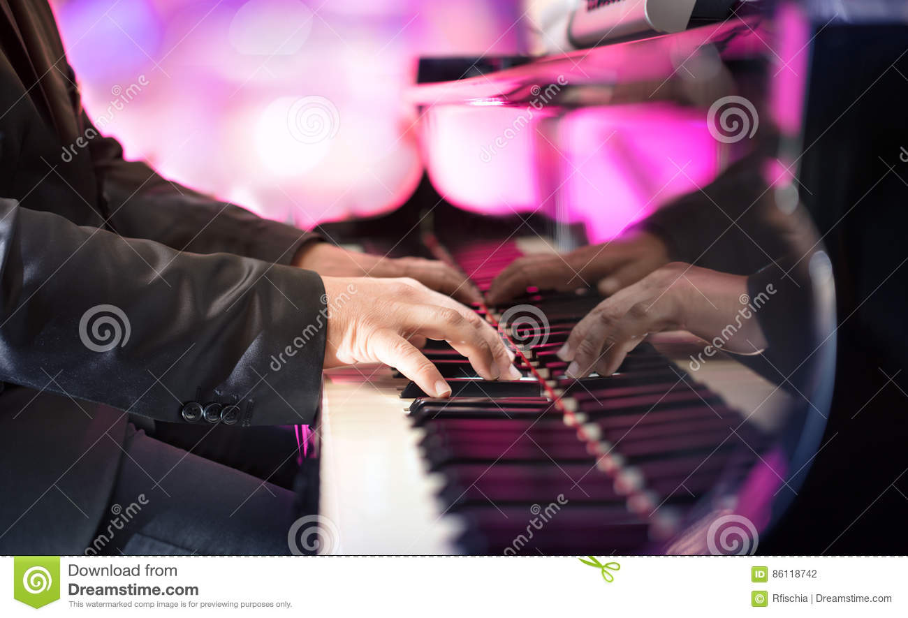 Pianist Playing Jazz Or Blues Music Stock Photo - Image of