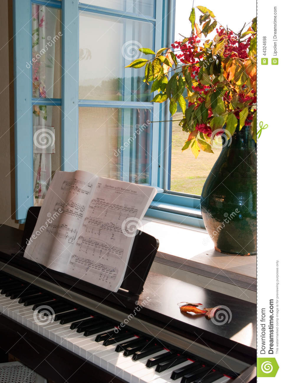 Piano la fen tre ouverte photo stock image 44324698 for La fenetre ouverte