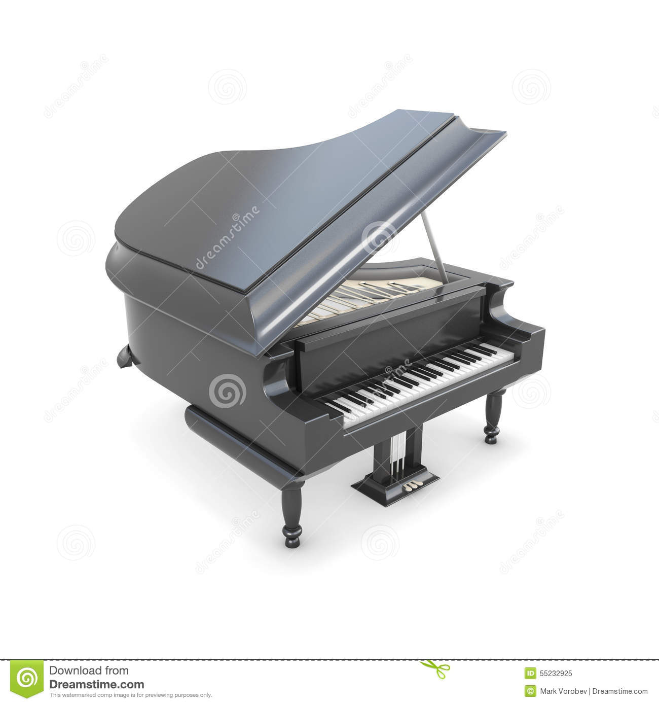 Piano queue noir sur un blanc illustration stock image for Piano blanc a queue