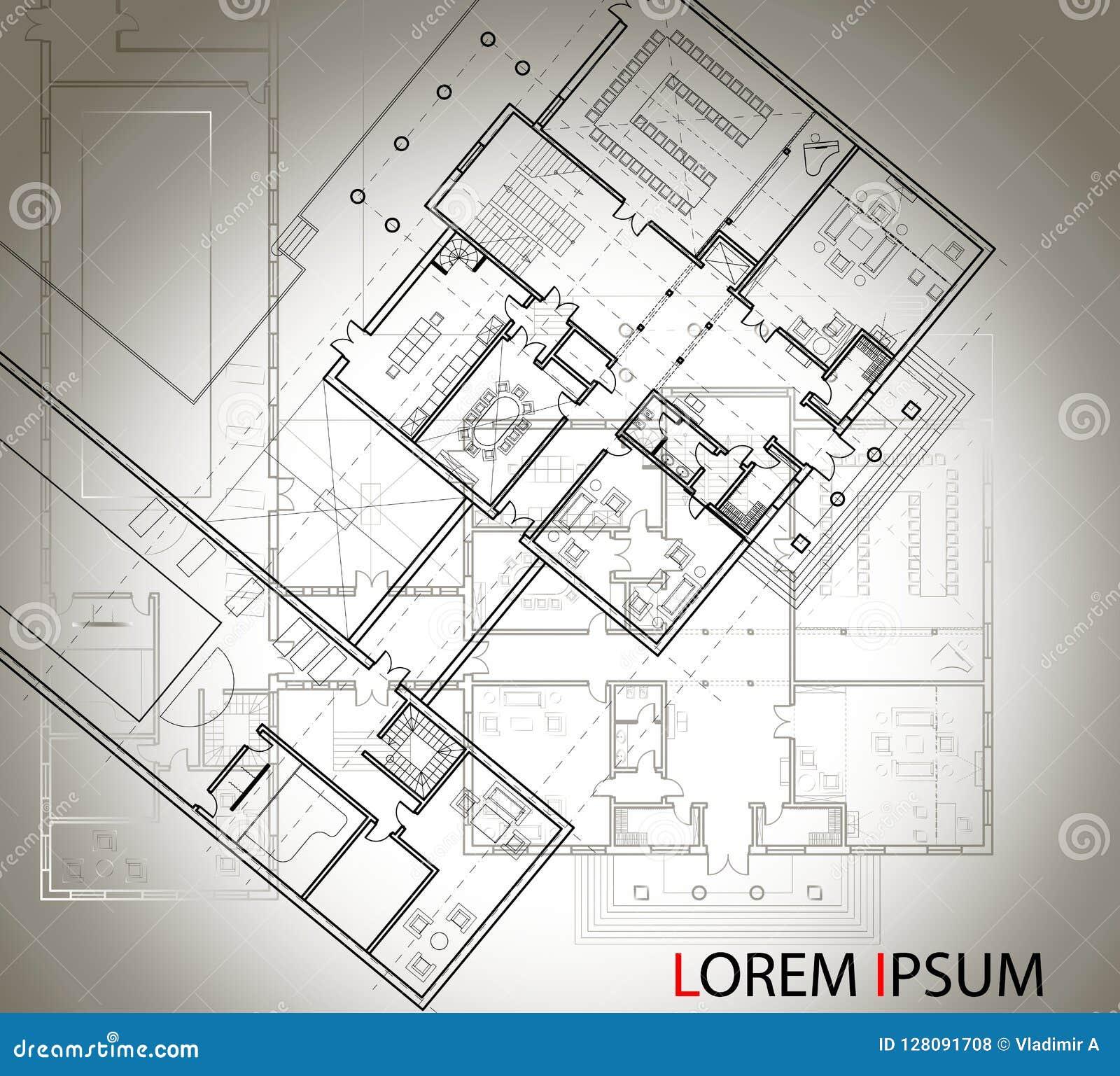 Piano architettonico dettagliato di grande casa con un altro schema sui precedenti Vista superiore Imag isolato in bianco e nero