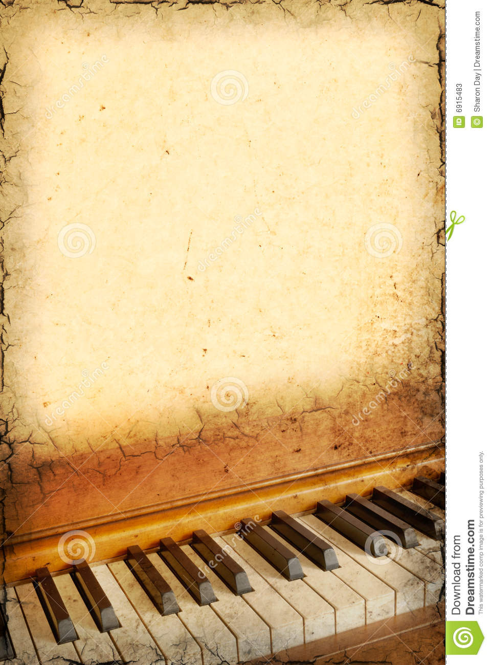 Grunge background of piano keys with room for text.