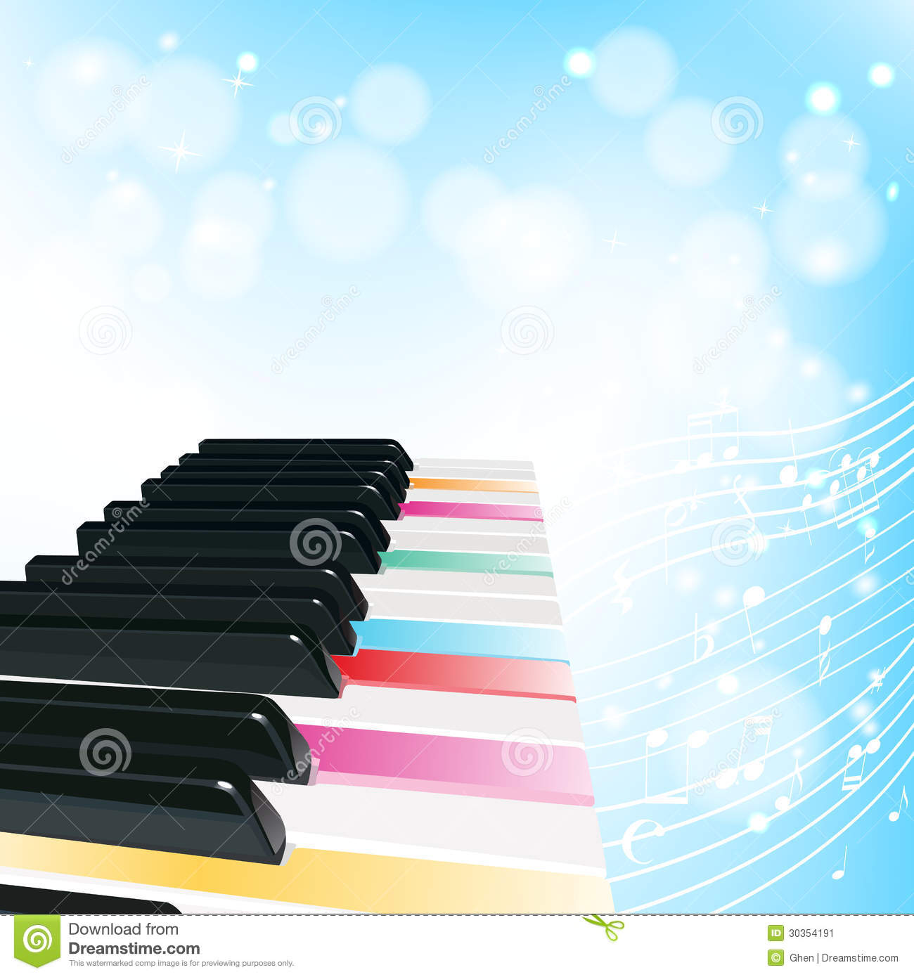 Piano Background With Notes Stock Image - Image: 30354191